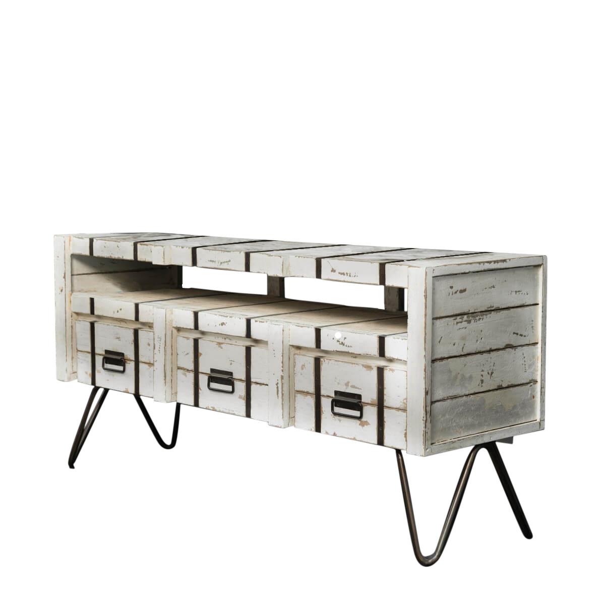 Meuble sous vasque en bois et métal blanc 3 tiroirs L160cm