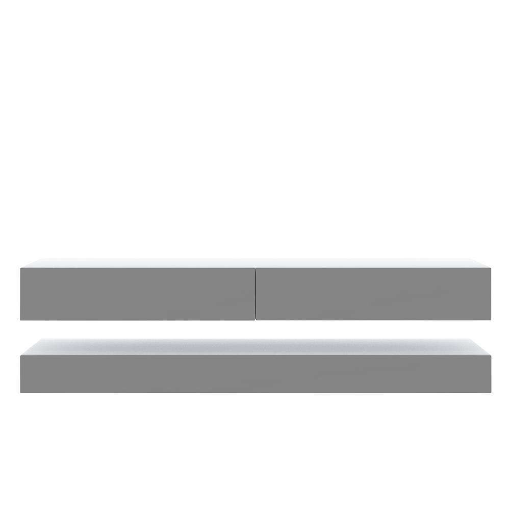 Meuble tv contemporain 2 tiroirs blanc mat gris brillant