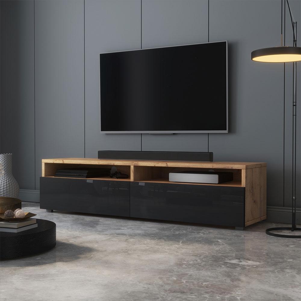 Meuble tv moderne 140 cm chêne wotan noir brillant