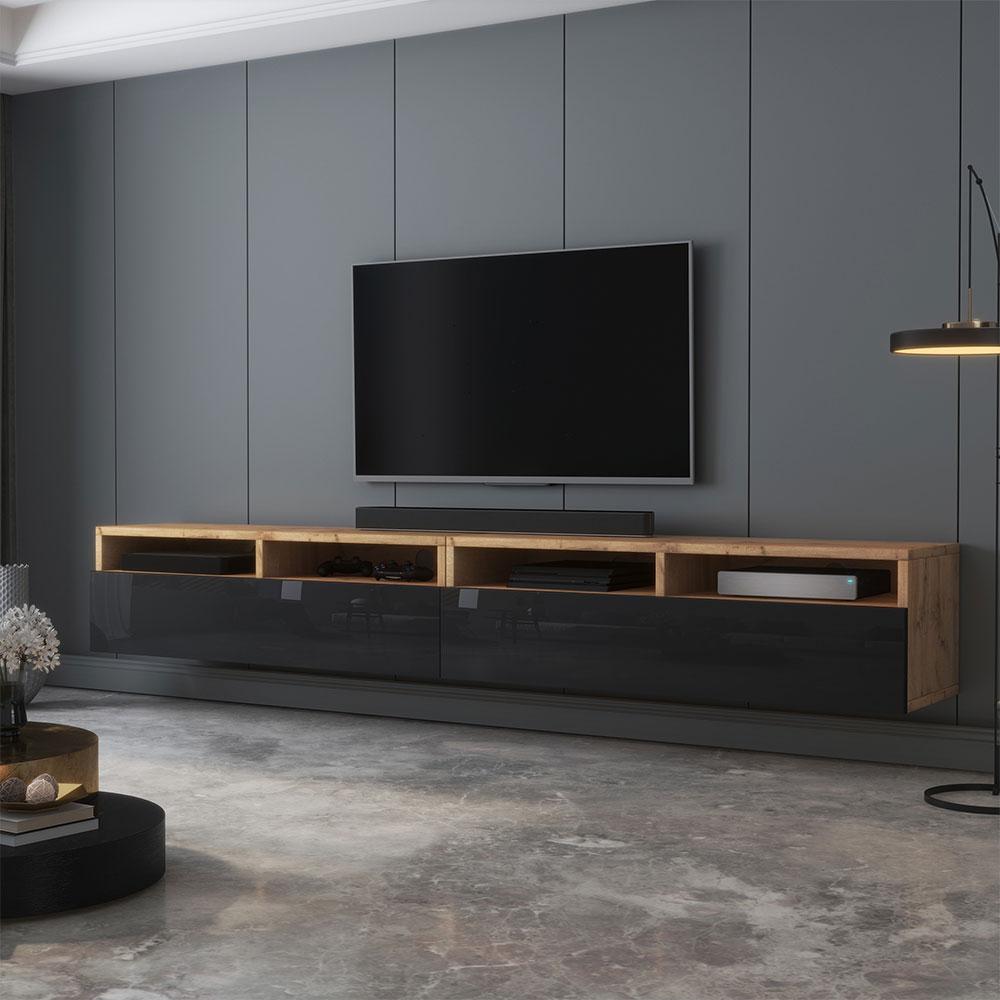Meuble tv moderne 200 cm chêne wotan noir brillant