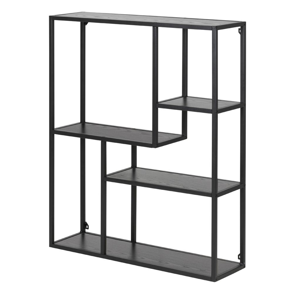 Bibliothèque asymétrique 75 cm gris noir