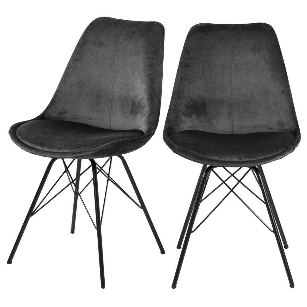 Lot de 2 chaises salle à manger pieds en métal gris foncé