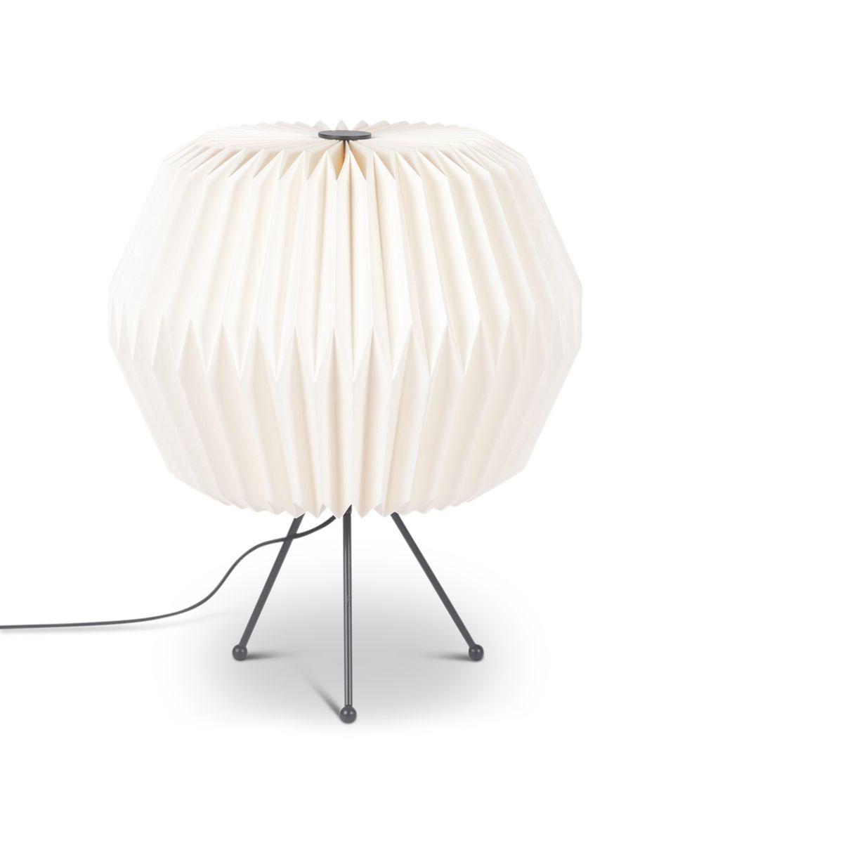 Lampe en papier origami blanche ronde