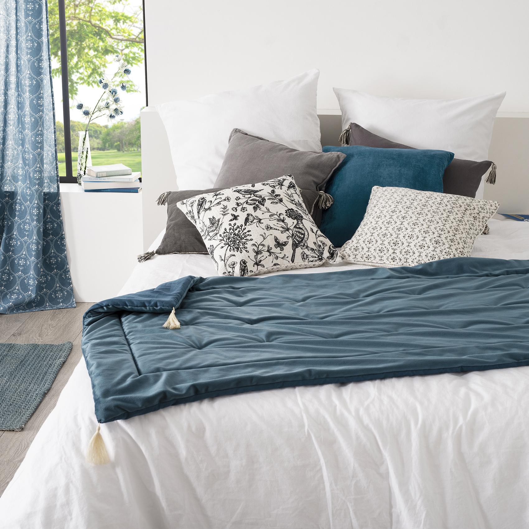 Édredon en velours et pompons polyester bleu 180x80