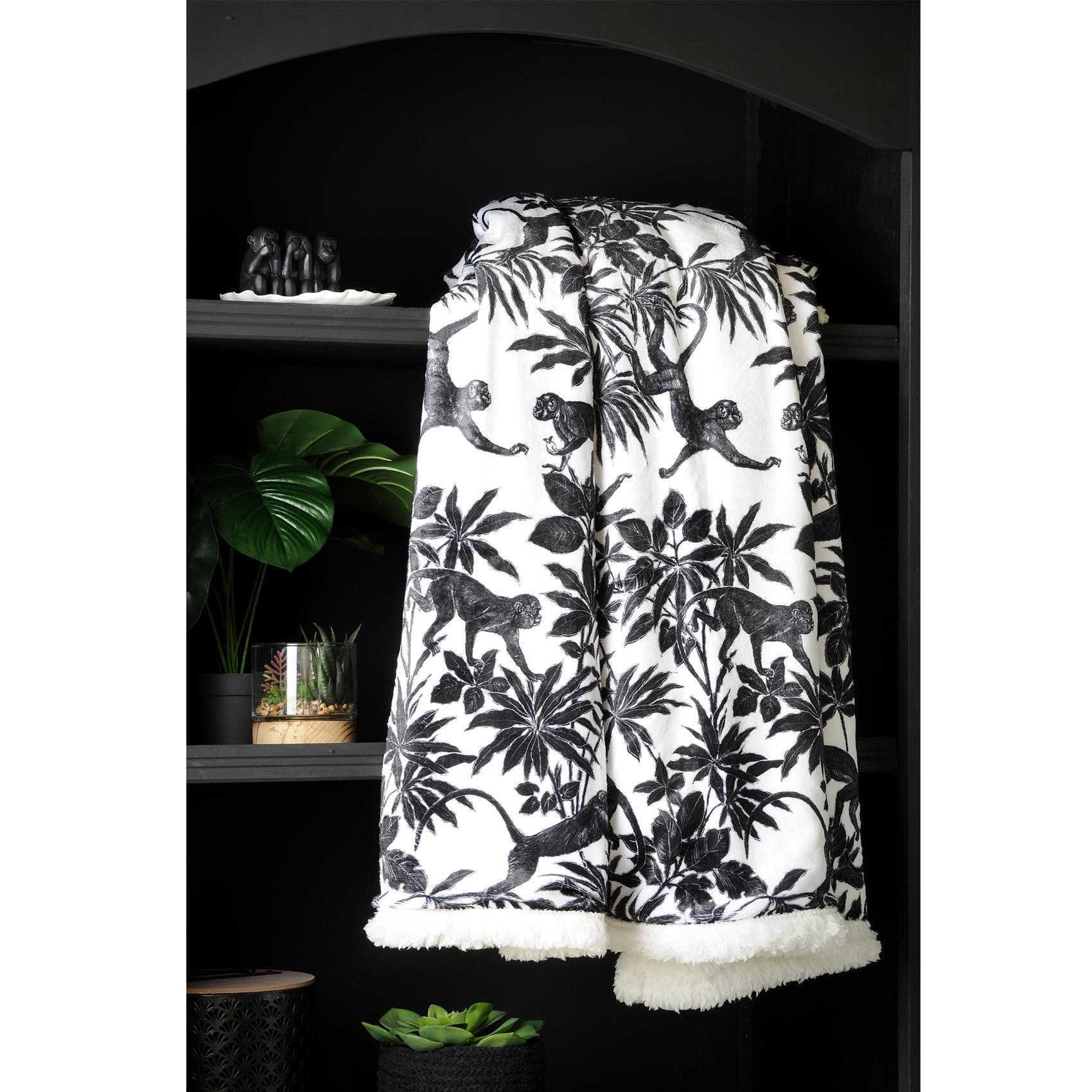 Plaid imprimé jungle en n&b polyester noir 160x130