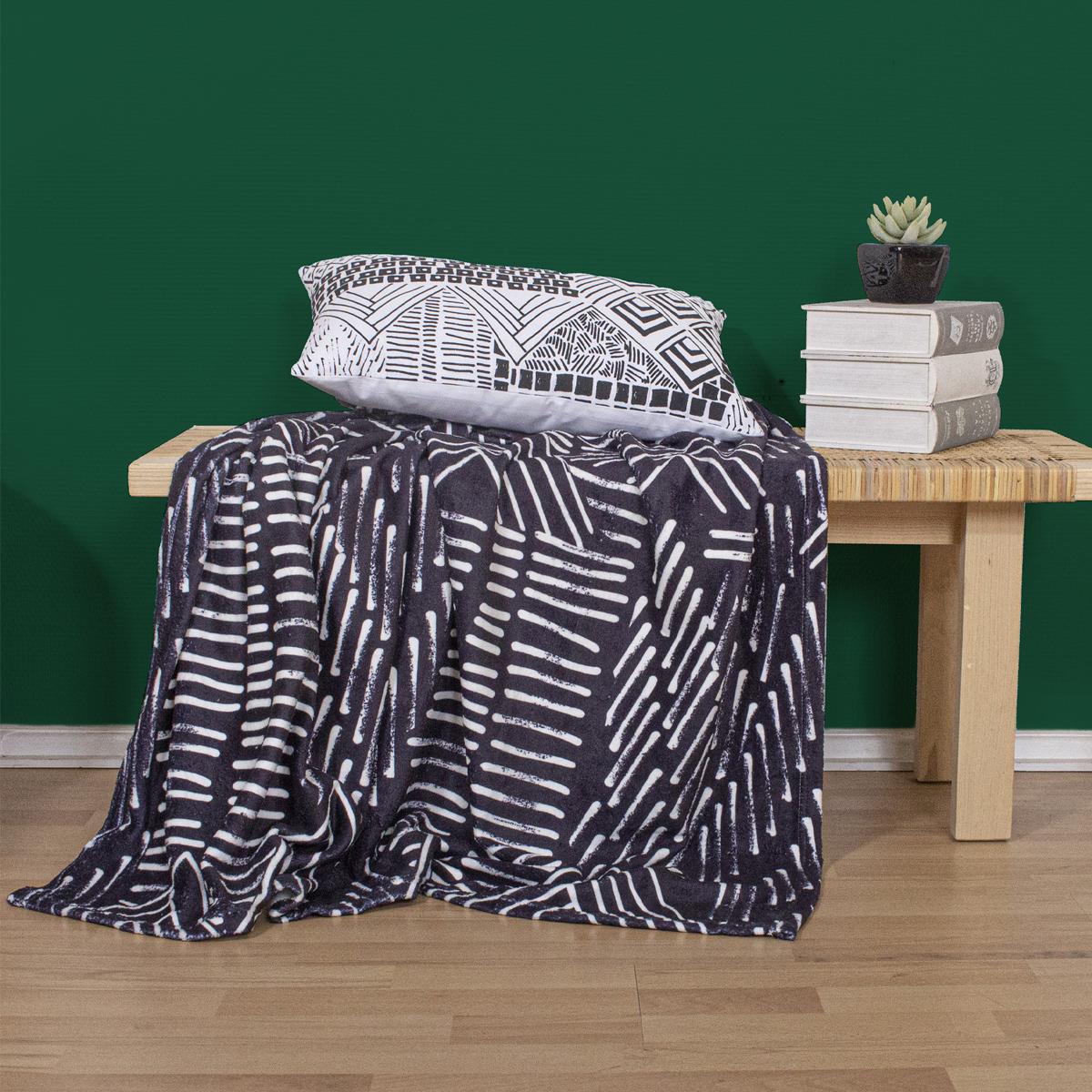 Plaid imprimé néo ethnic polyester noir 150x125