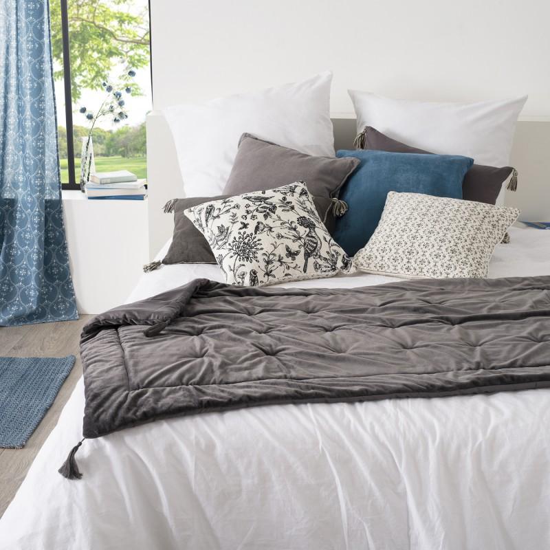 Édredon en velours et pompons polyester gris 180x80
