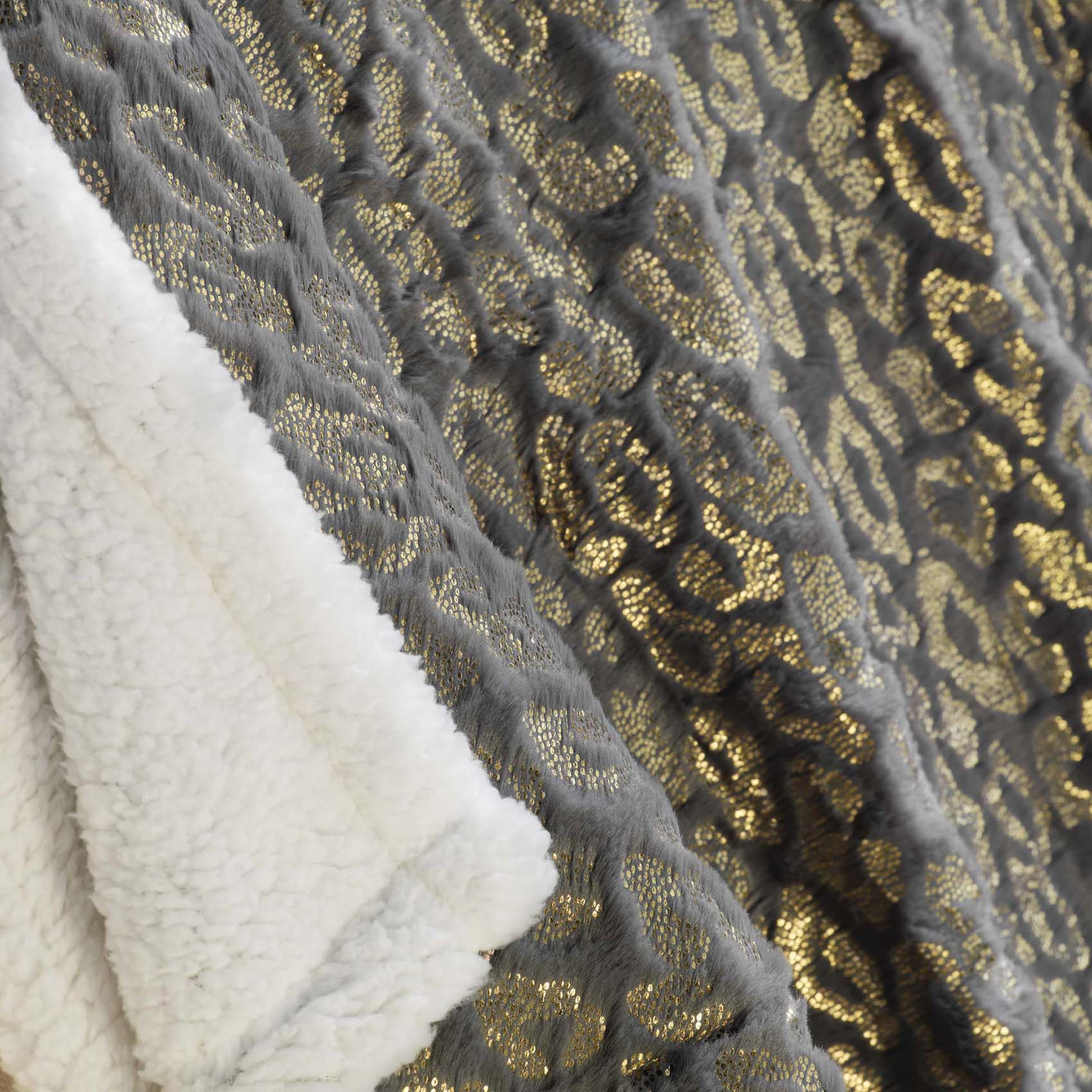 Plaid imitation fourrure dorée polyester gris 150x125