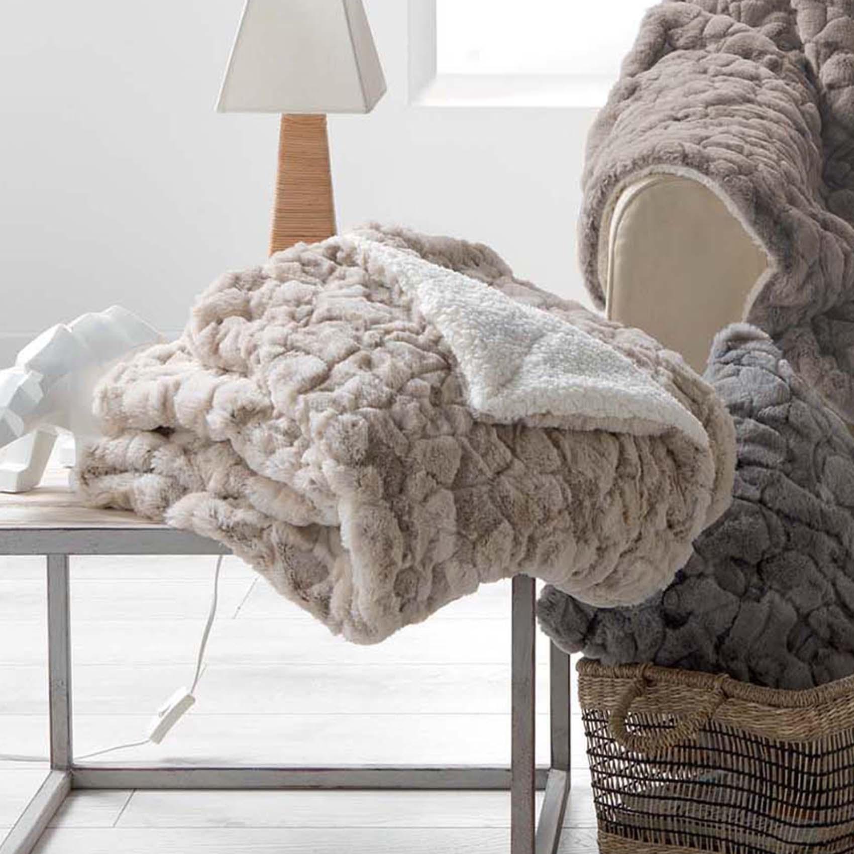 Plaid façon fourrure polyester naturel 150x125