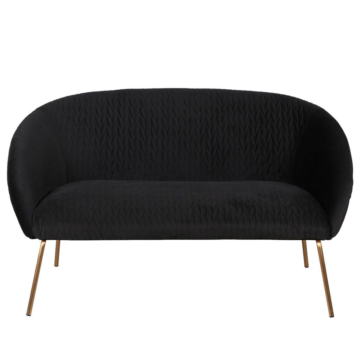 Canapé 2 places en velours anthracite et pieds dorés