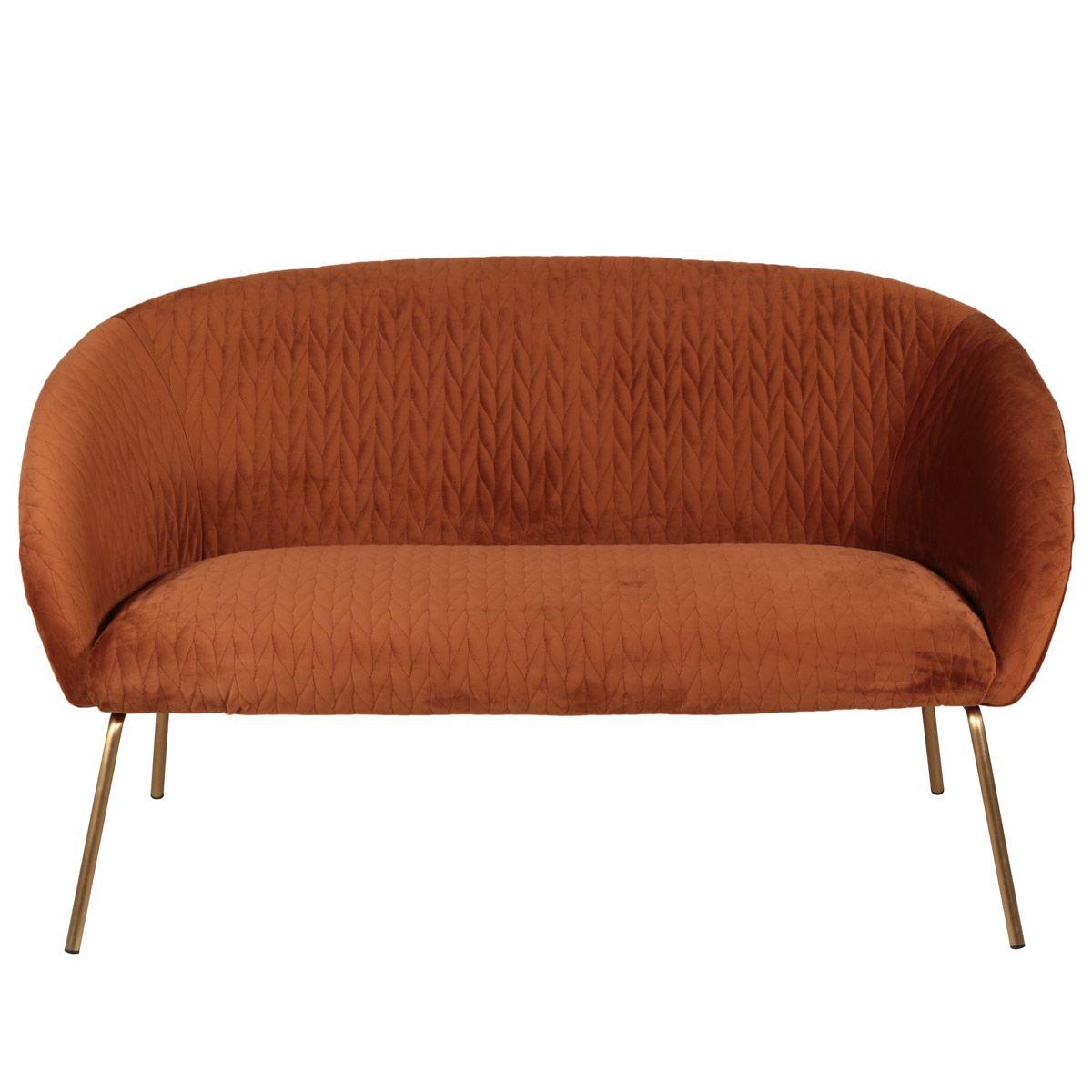 Canapé 2 places en velours cognac et pieds dorés