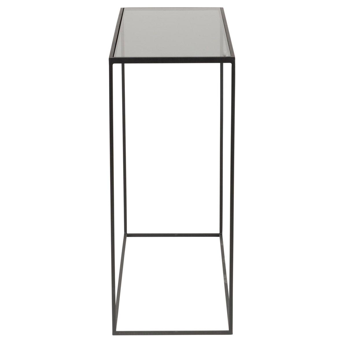 Console en métal noir avec plateau en verre trempé