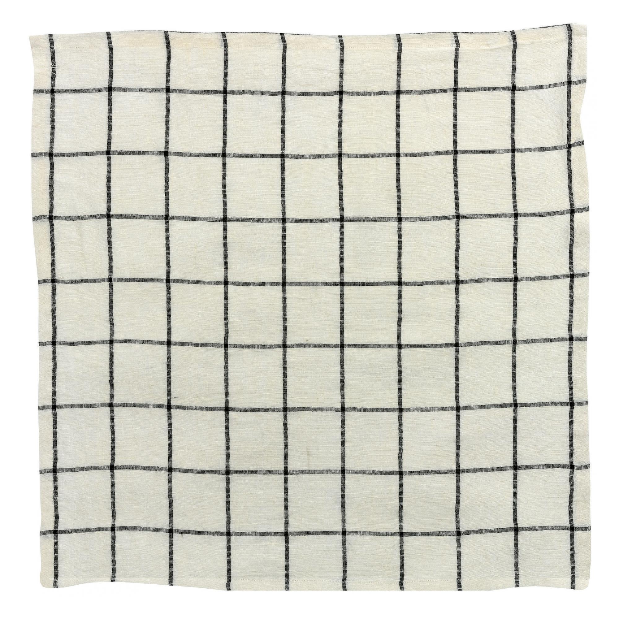 Serviette de table carreaux en lin ecru/noir 50 x 50