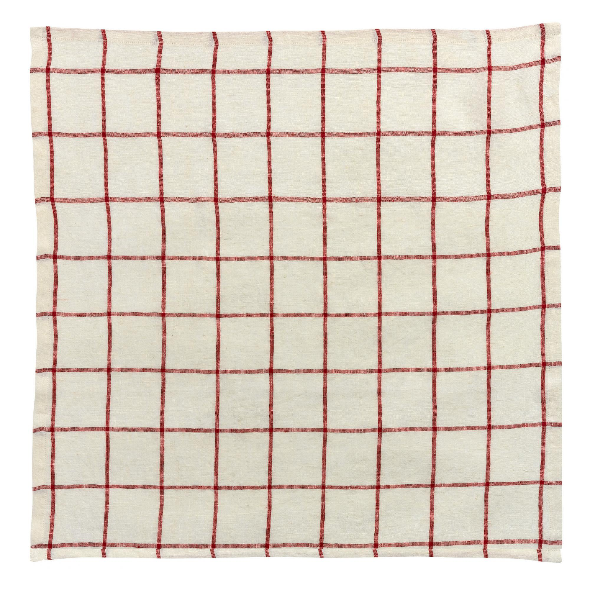 Serviette de table carreaux en lin naturel/rouge 50 x 50