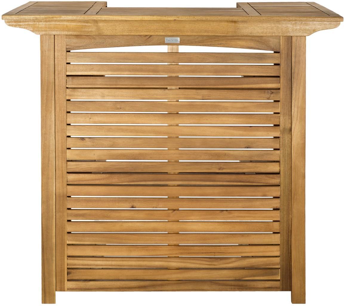 Table de bar intérieur/extérieur en acier et bois d'acacia marron