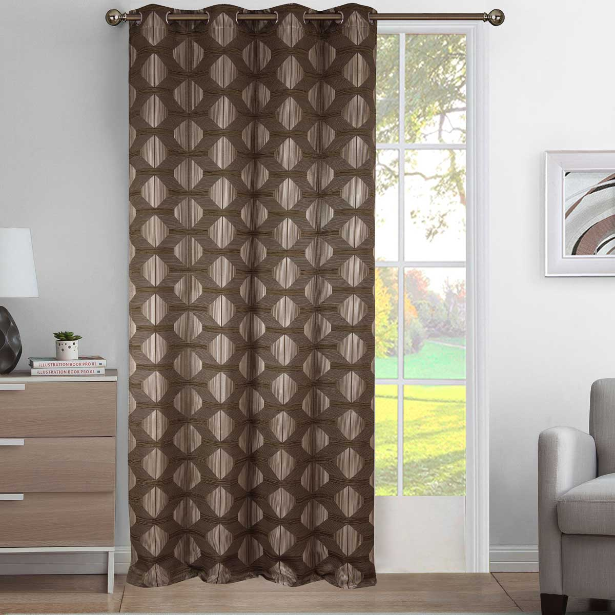Rideau tamisant aux impressions géométriques polyester taupe 260x140