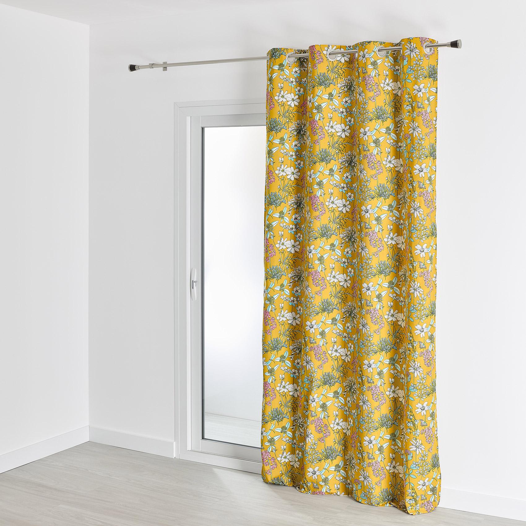 Rideau d'ameublement aux impressions fleuries coton safran 260x140