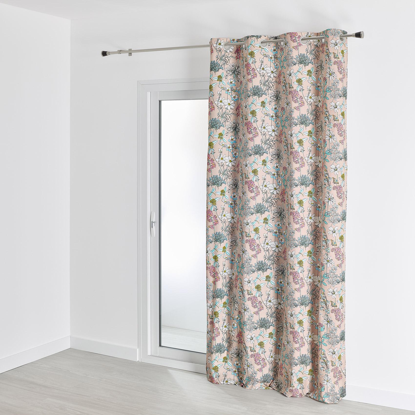 Rideau d'ameublement aux impressions fleuries coton rose 260x140
