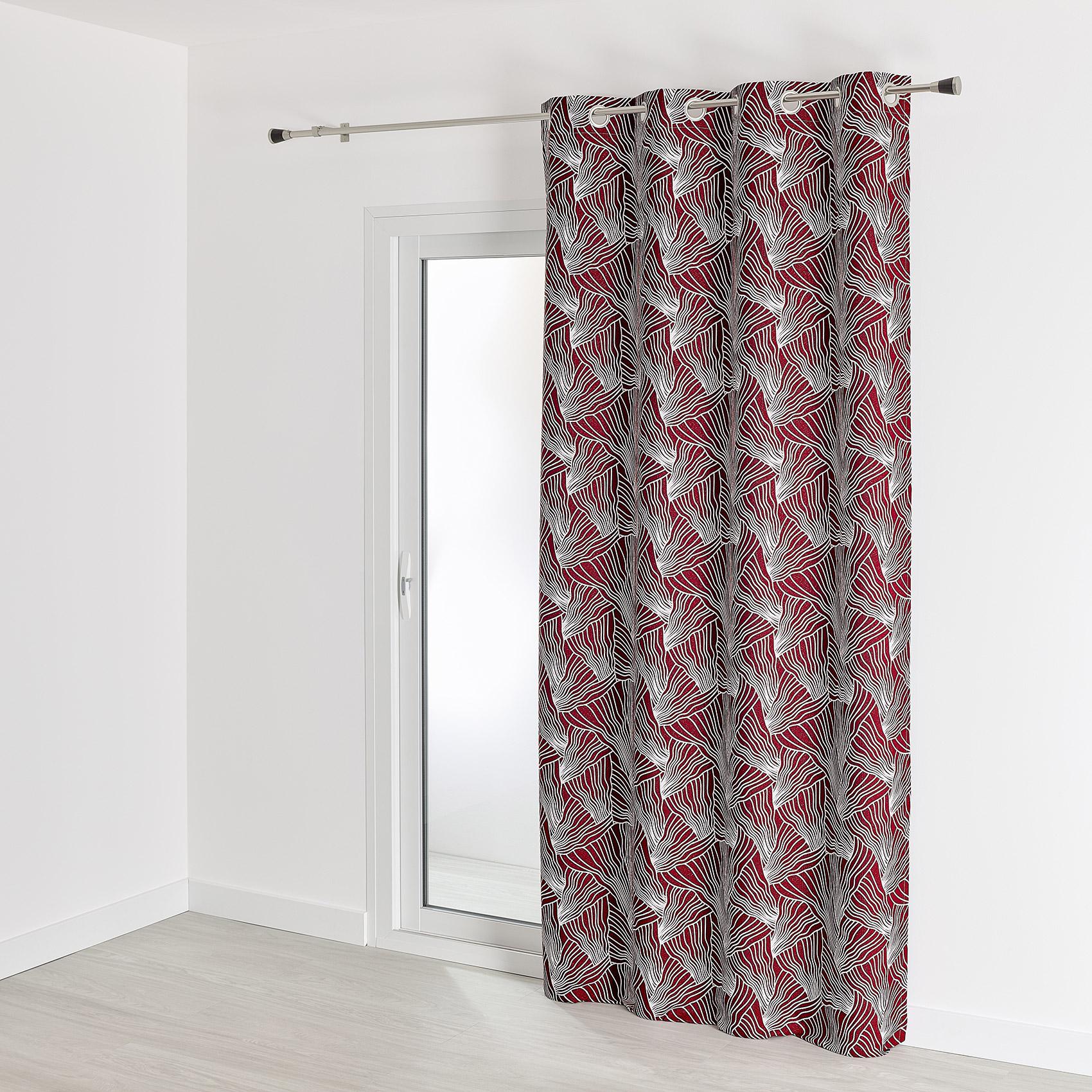 Rideau d'ameublement à motifs japonisants polyester rouge 260x140