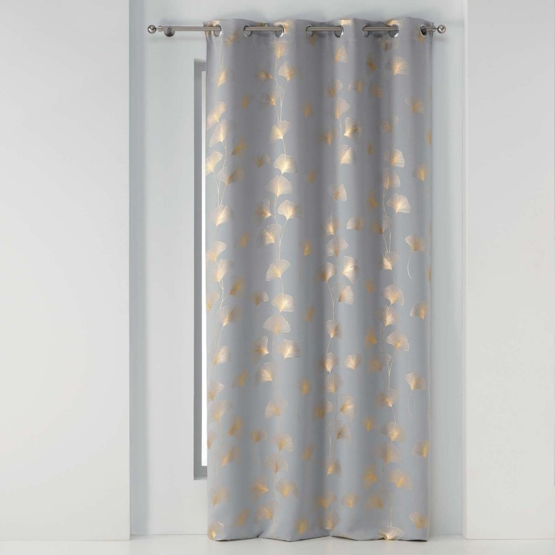 Rideau occultant imprimé doré polyester gris/or 240x135