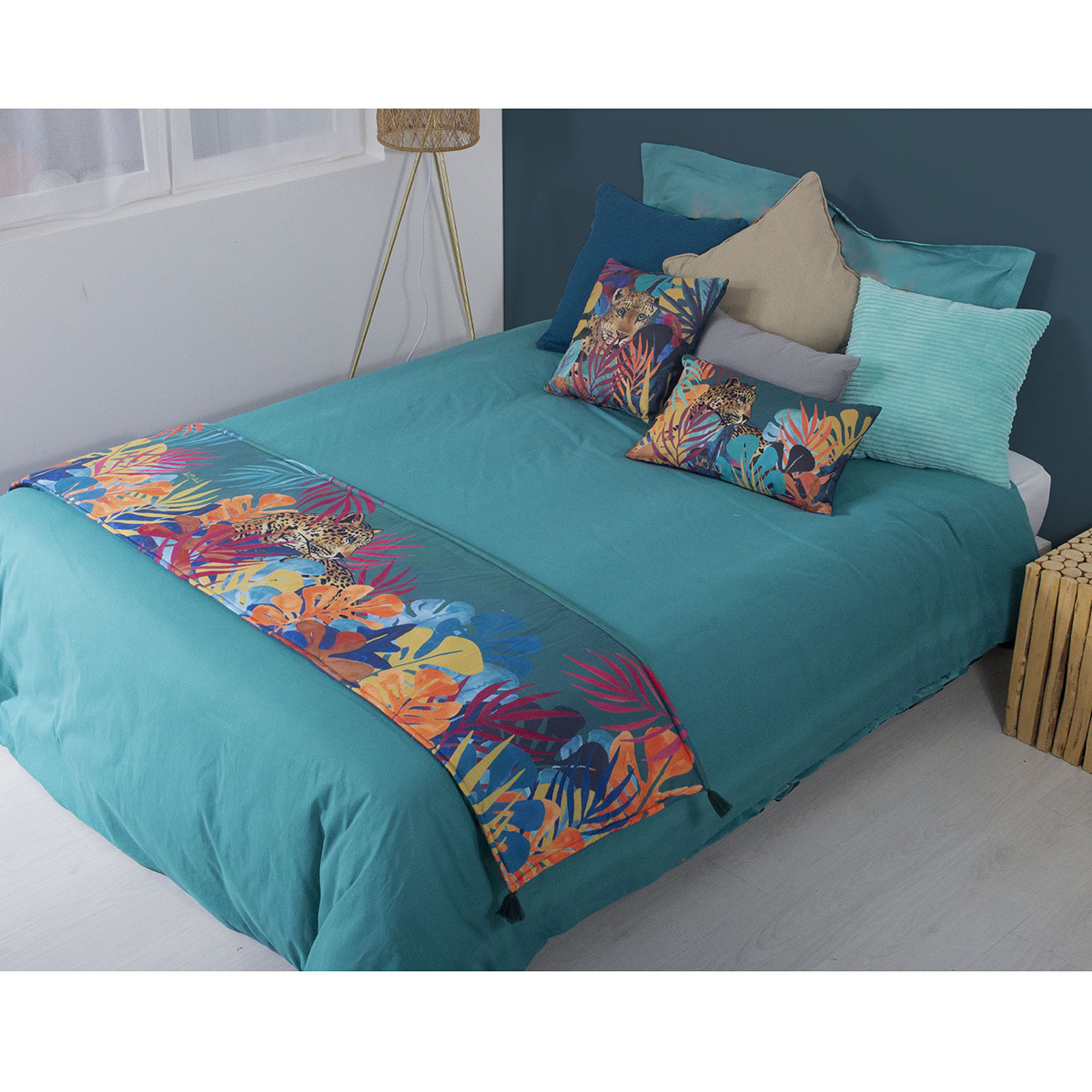 Chemin de lit imprimé jungle polyester vert 180x45