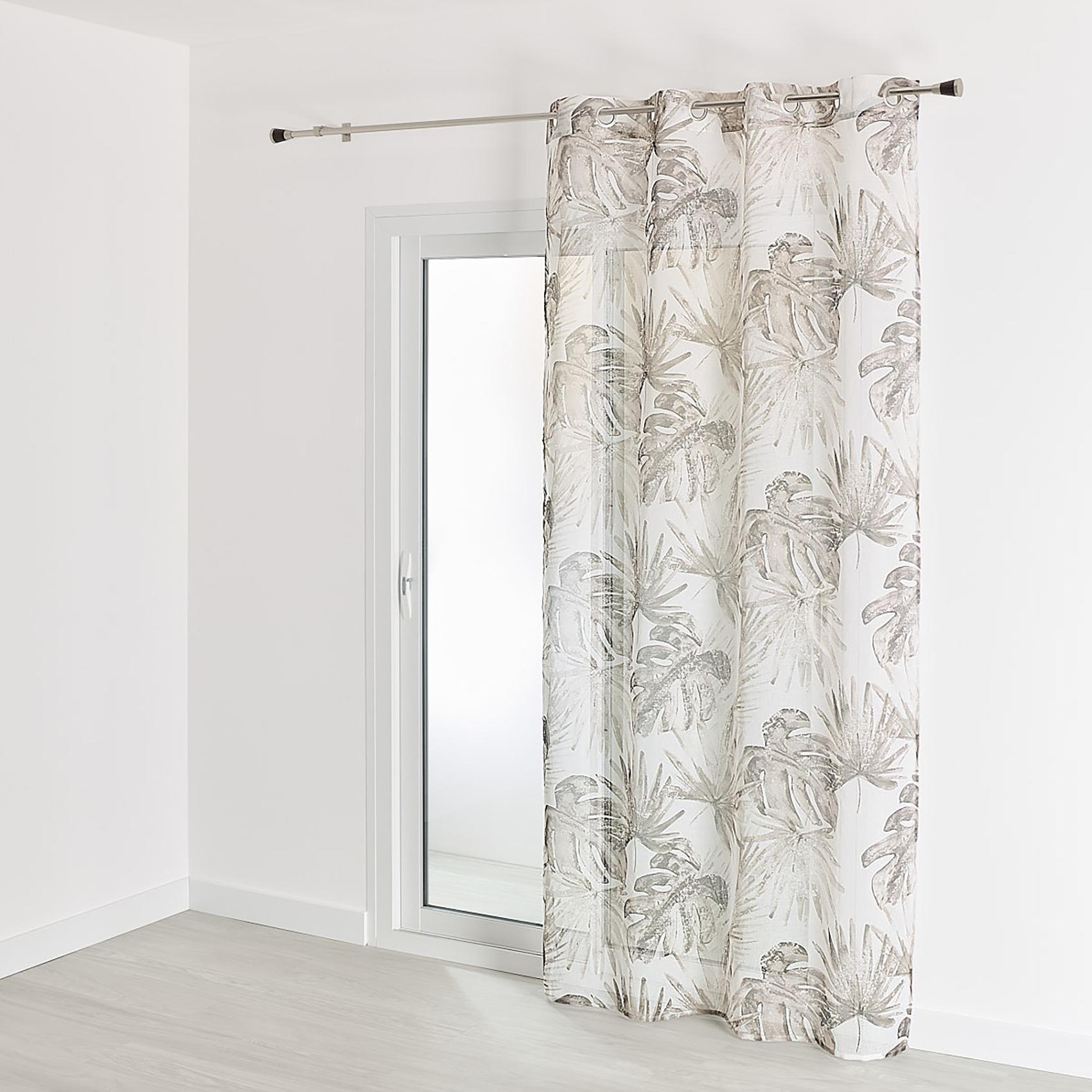 Voilage en étamine imprimé tropical polyester taupe 240x140