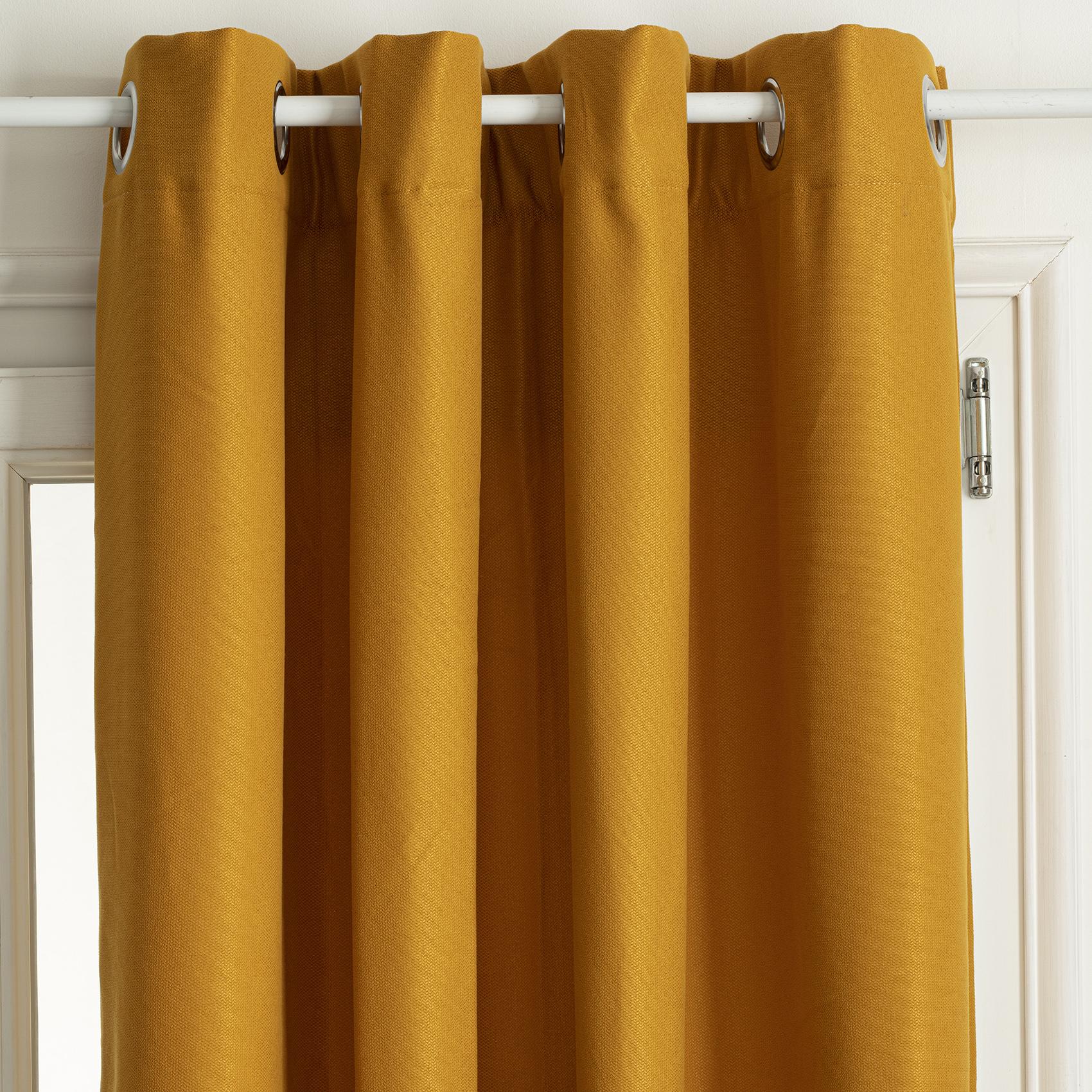 Rideau thermique et isolant uni polyester ocre 260x140