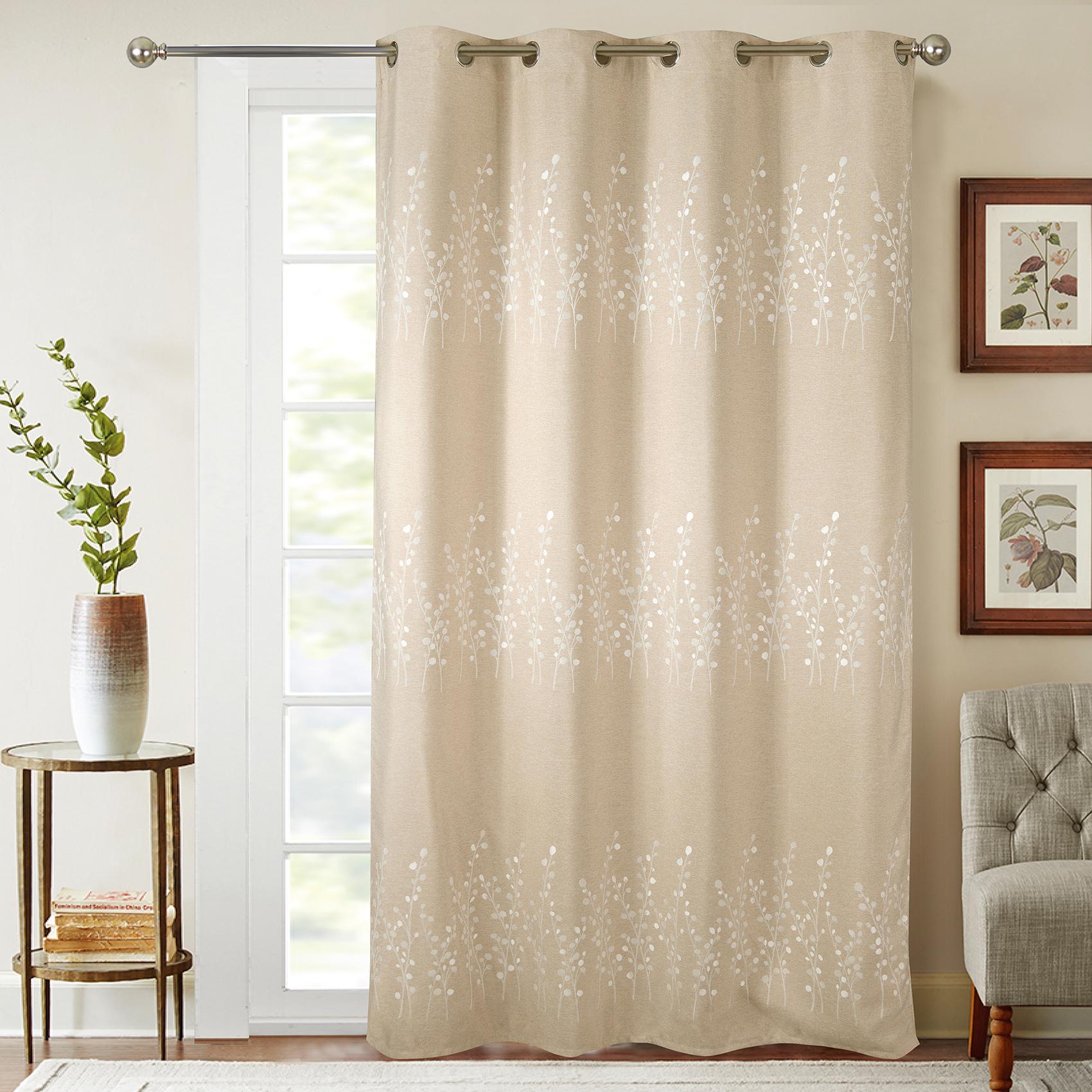 Rideaux occultant avec broderies végétales polyester beige 260x140