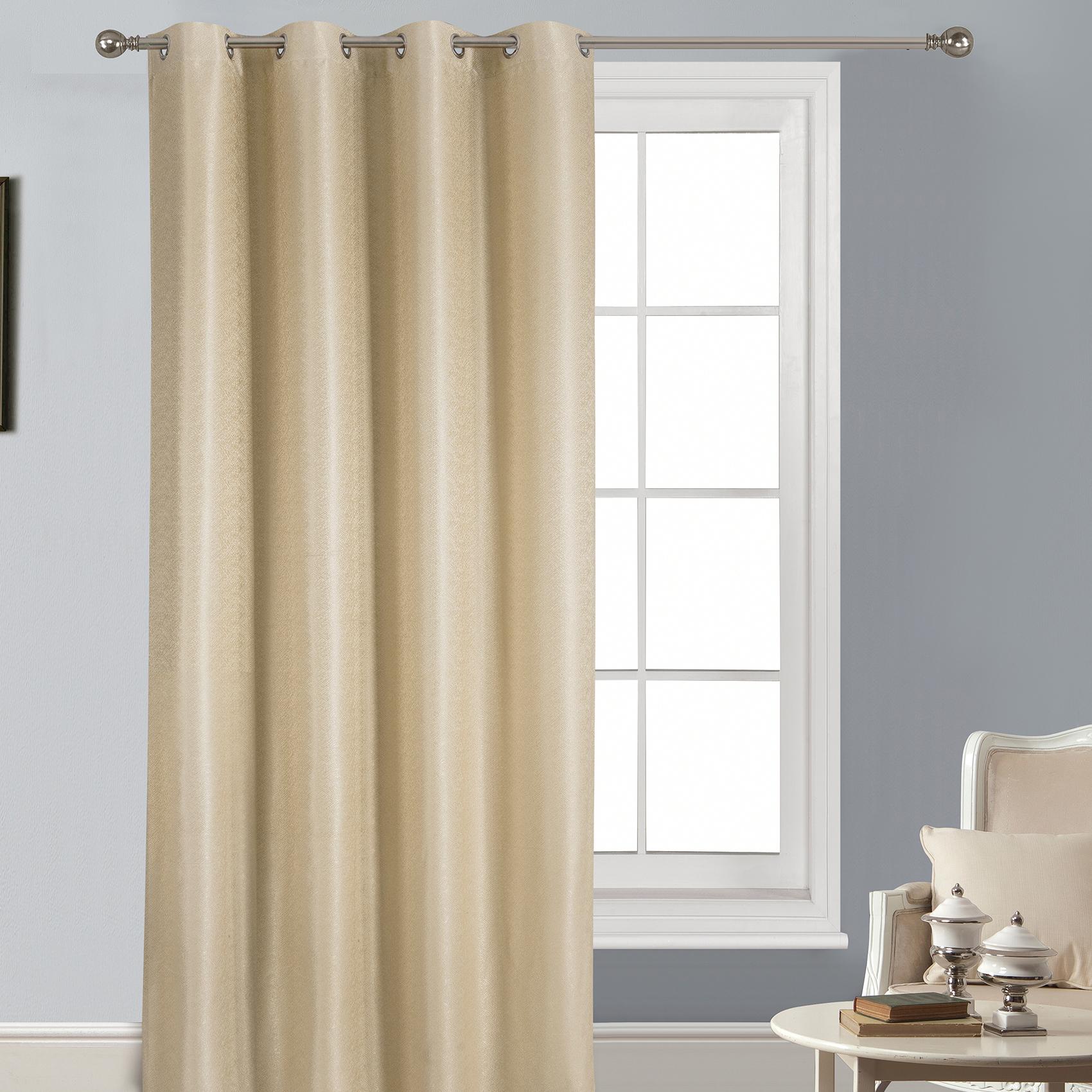 Rideau uni tissé avec motifs en relief polyester beige 260x140