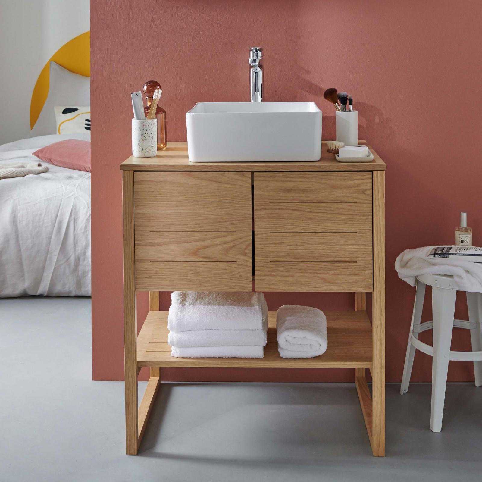 Meuble de salle de bain avec vasque effet bois clair