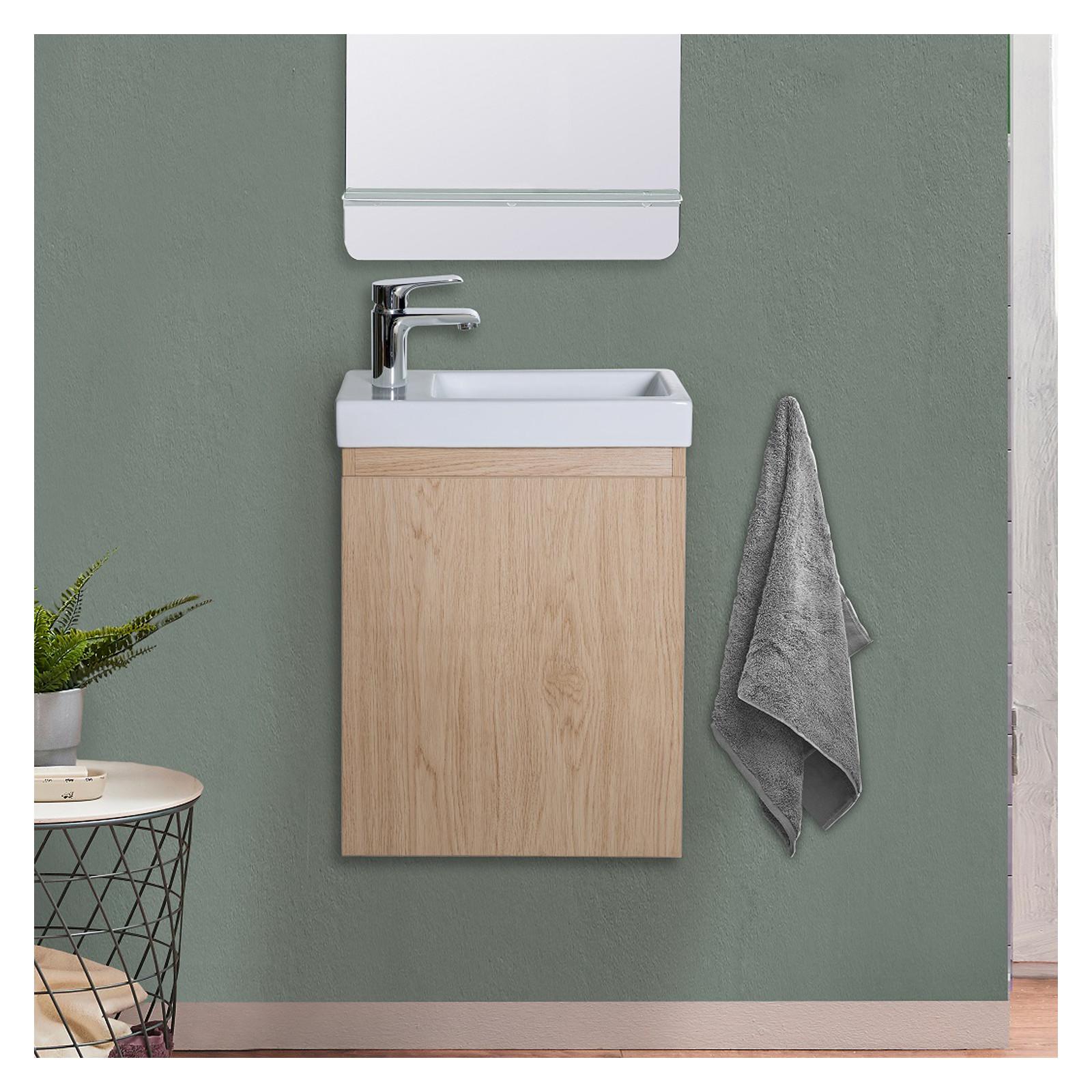 Meuble lave-mains effet bois clair