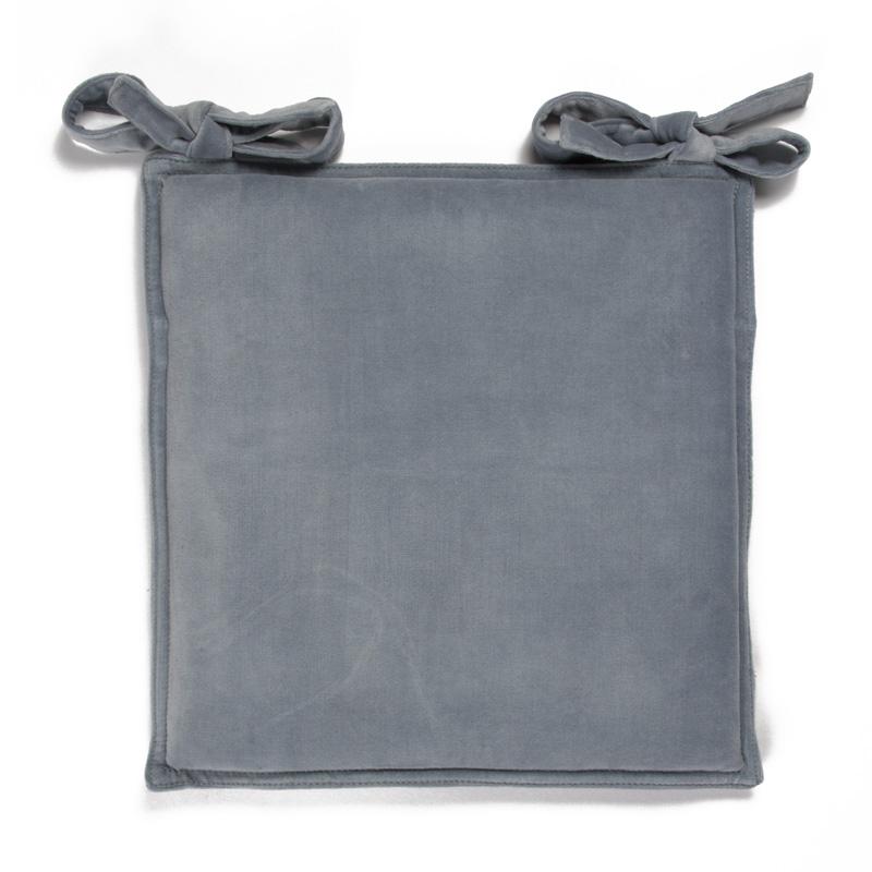 Galette en velours de coton uni bleu gris 40x40