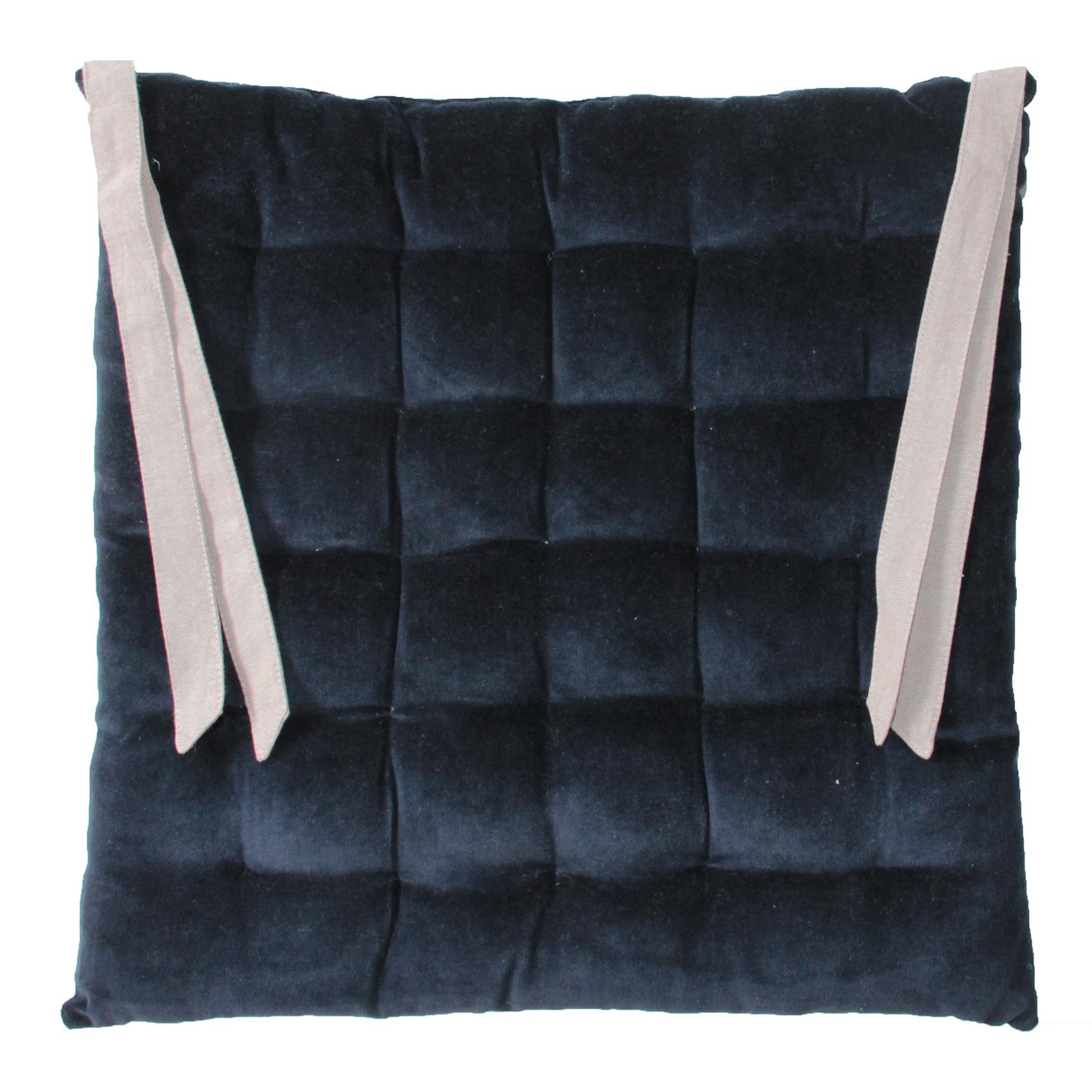 Galette de chaise en velours bleu 40x40