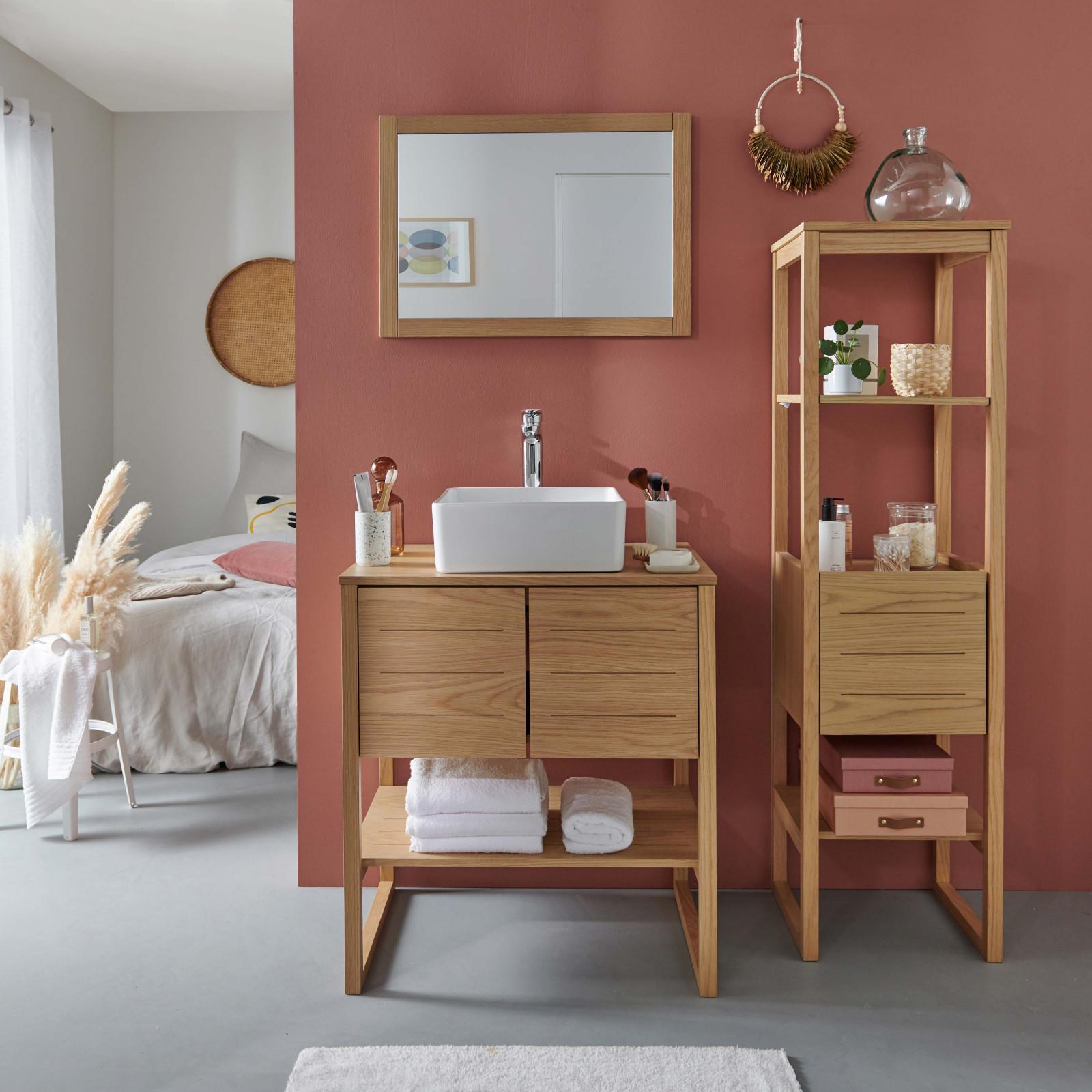 Meuble de salle de bain avec colonne, vasque, miroir effet bois clair