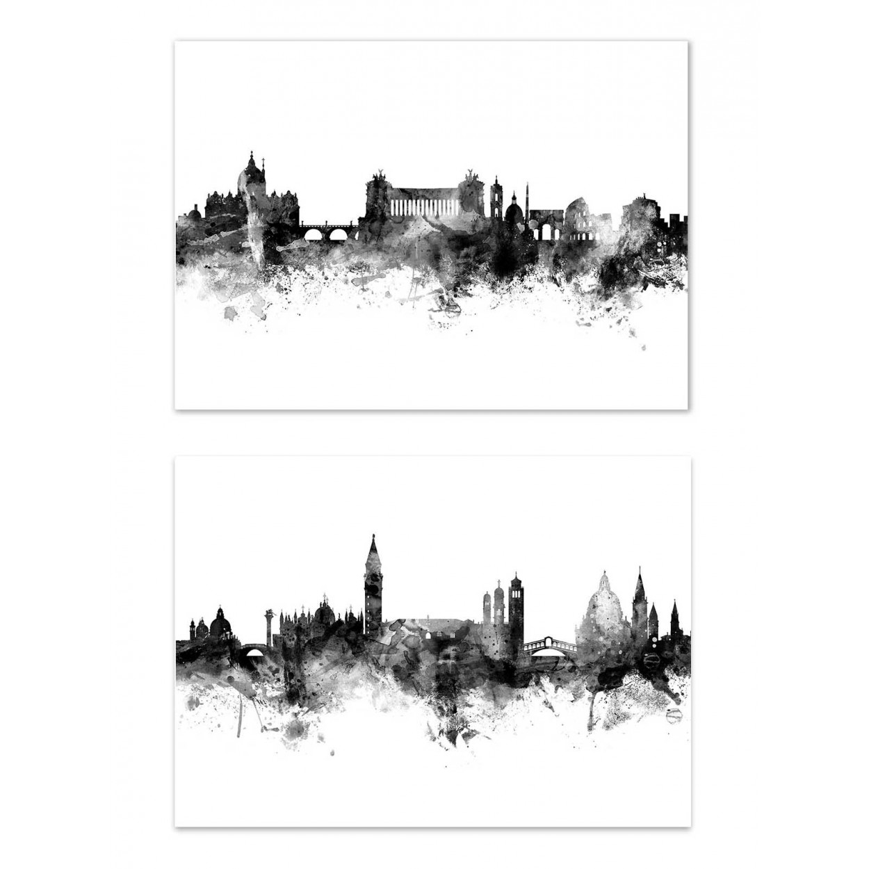 SKYLINES ROME AND VENICE - 2 Affiches d'art 30 x 40 cm