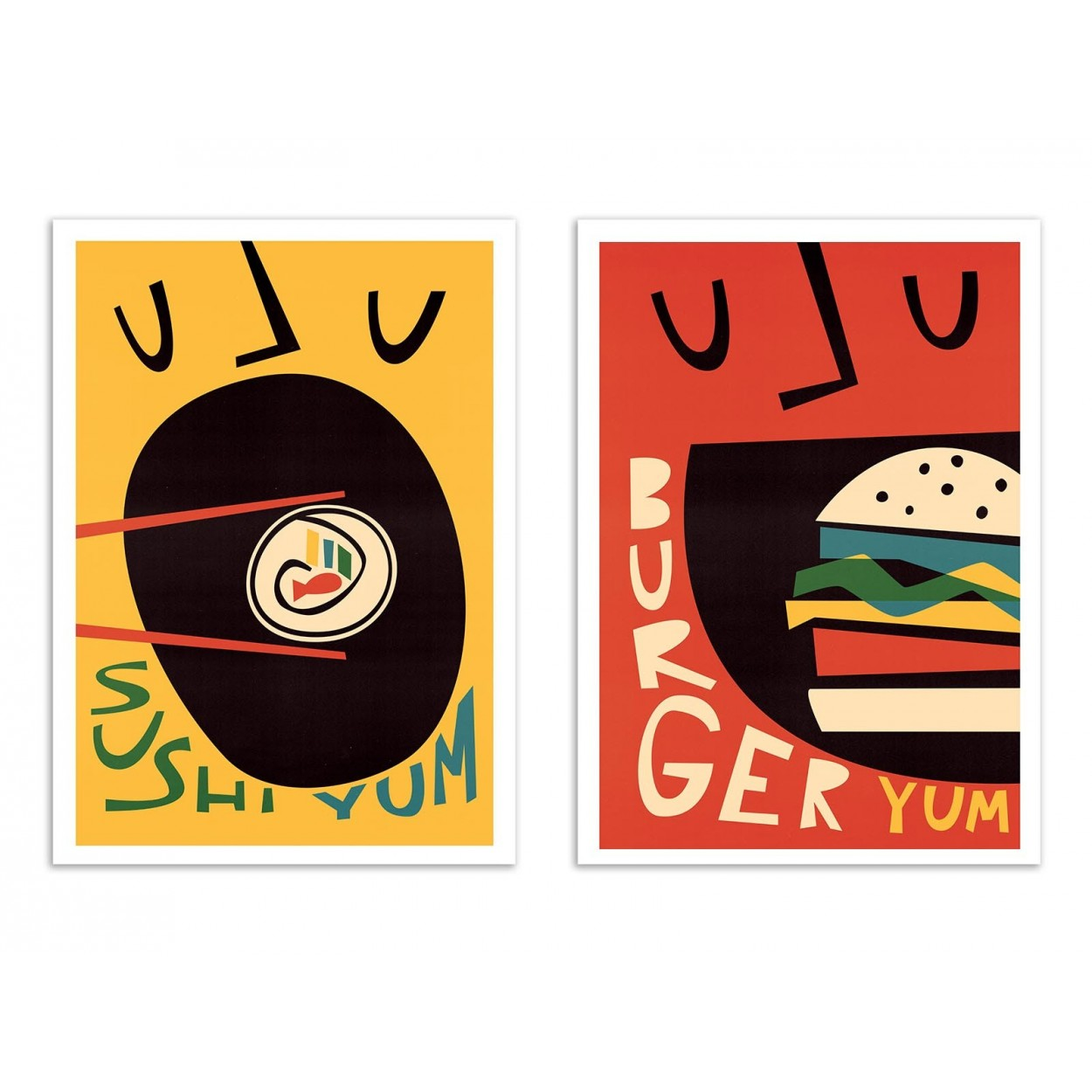 SUSHI AND BURGER - 2 Affiches d'art 30 x 40 cm