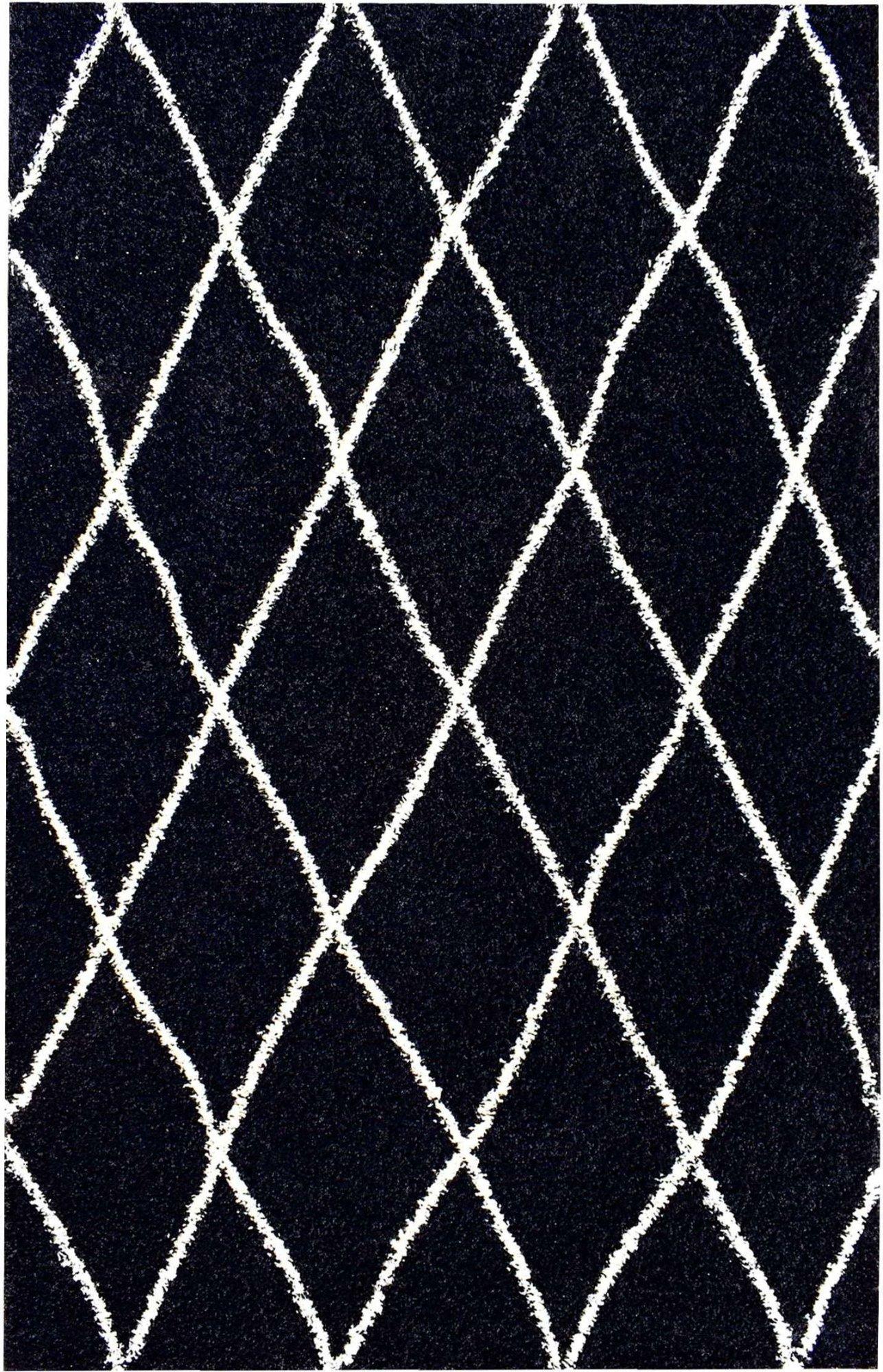 Tapis shaggy polypropylène noir 120x160