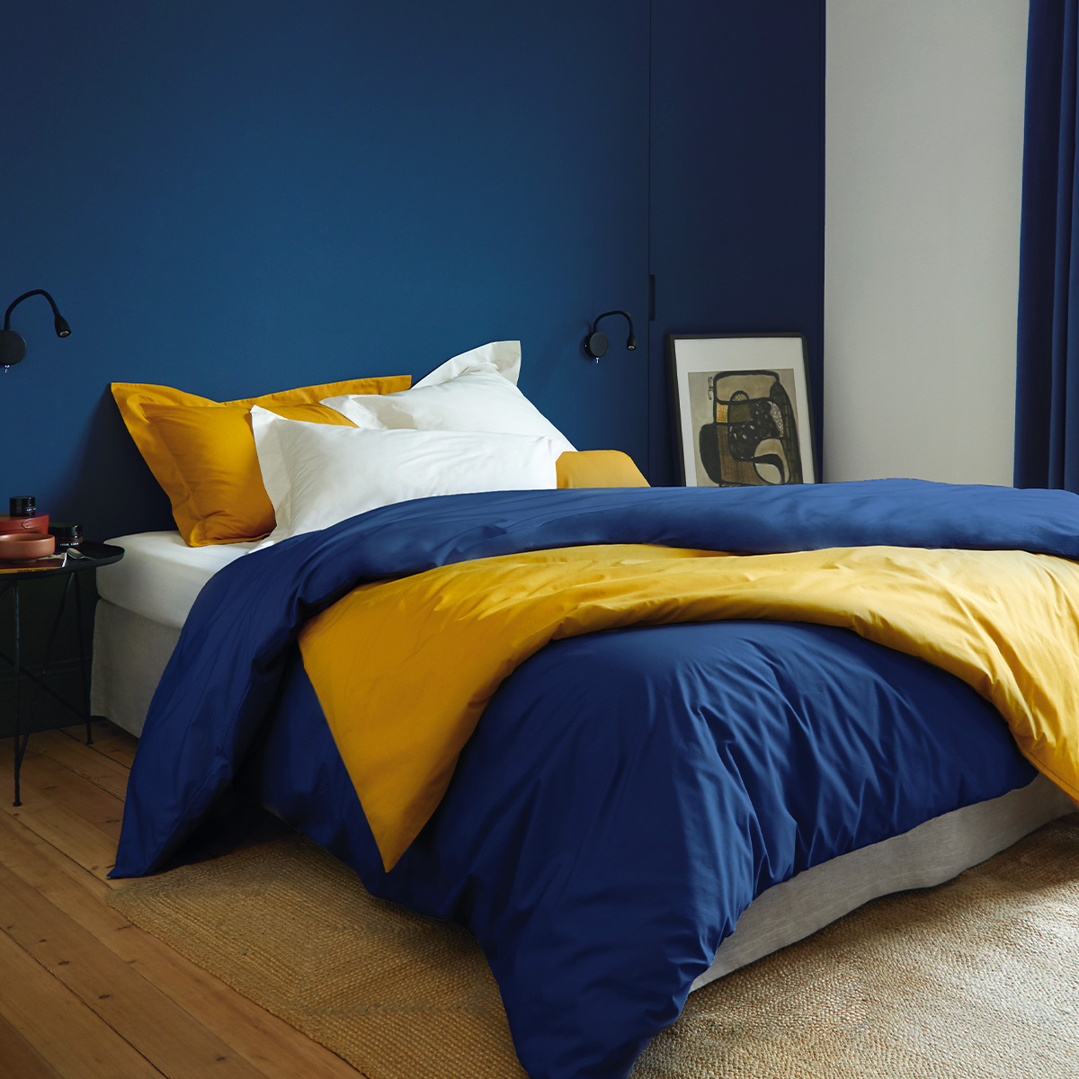 Drap plat percale Bleu 180 x 290 cm