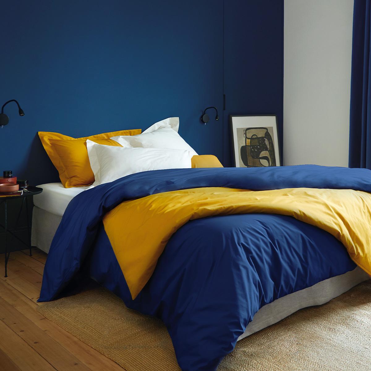 Drap plat percale Bleu 270 x 300 cm