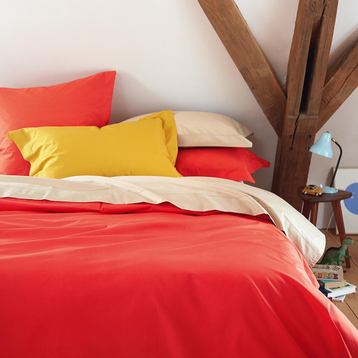 Housse de couette percale Rouge 200 x 200 cm