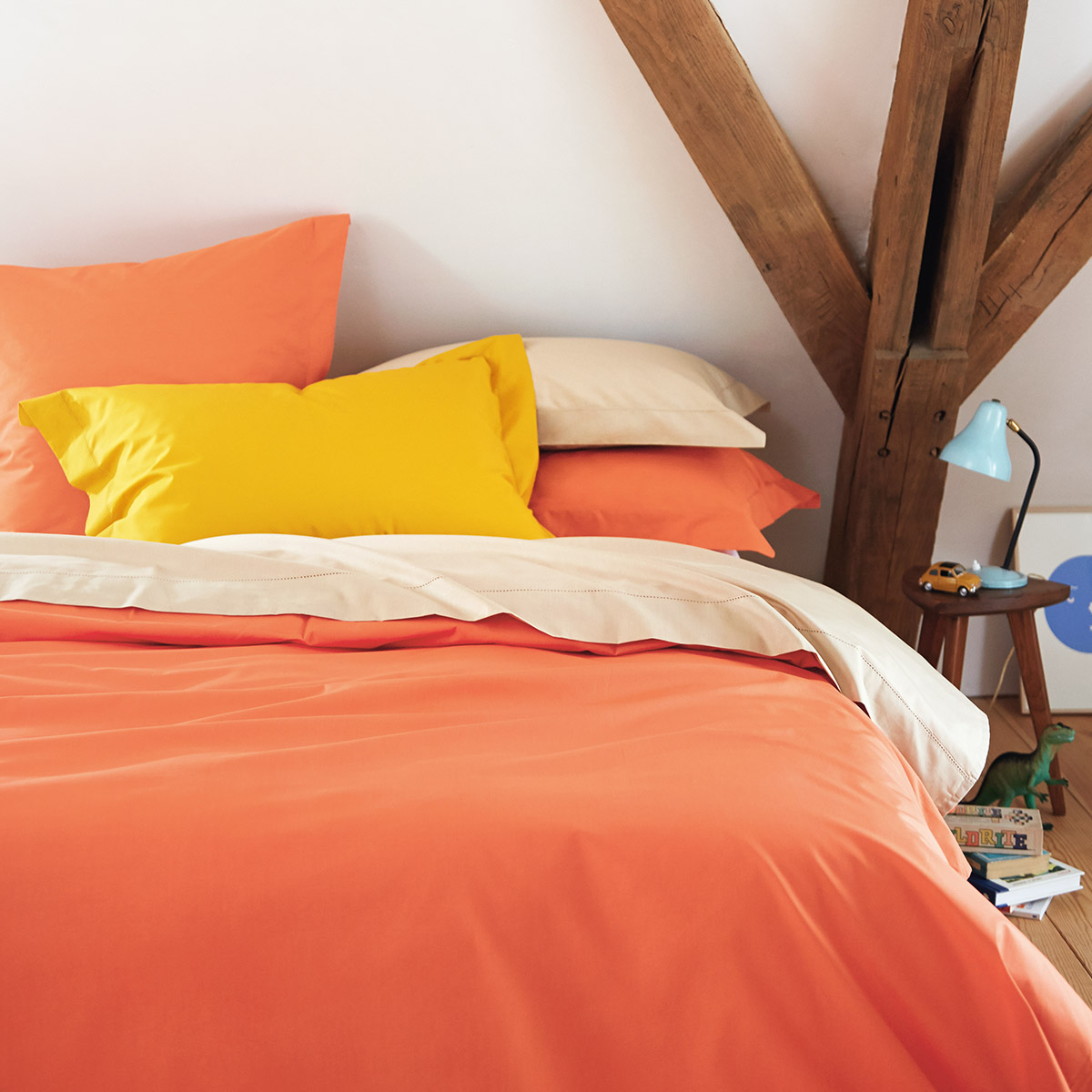 Housse de couette percale Orange 140 x 200 cm