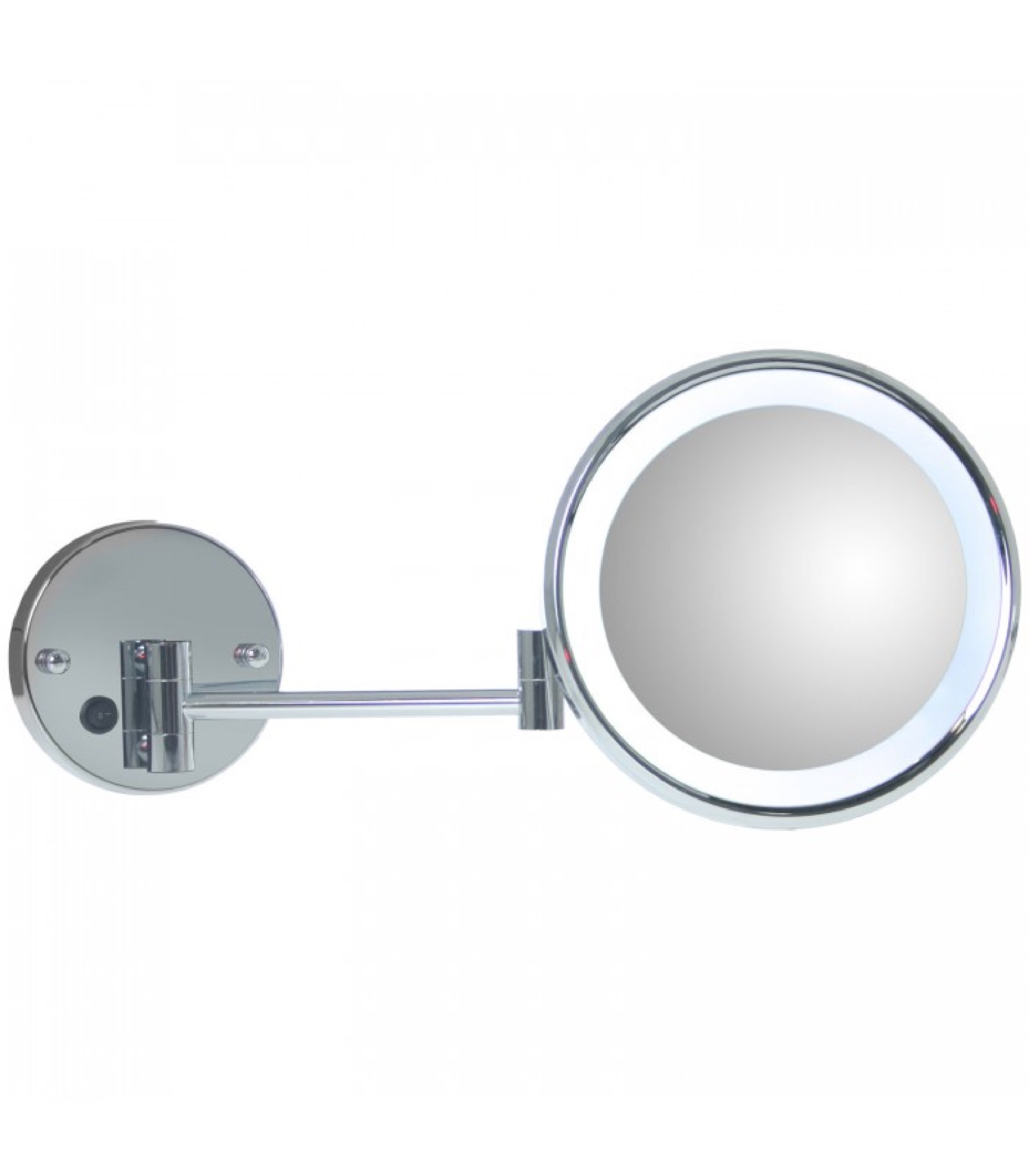 Miroir grossissant (x5) mural lumineux rond sur bras extensible