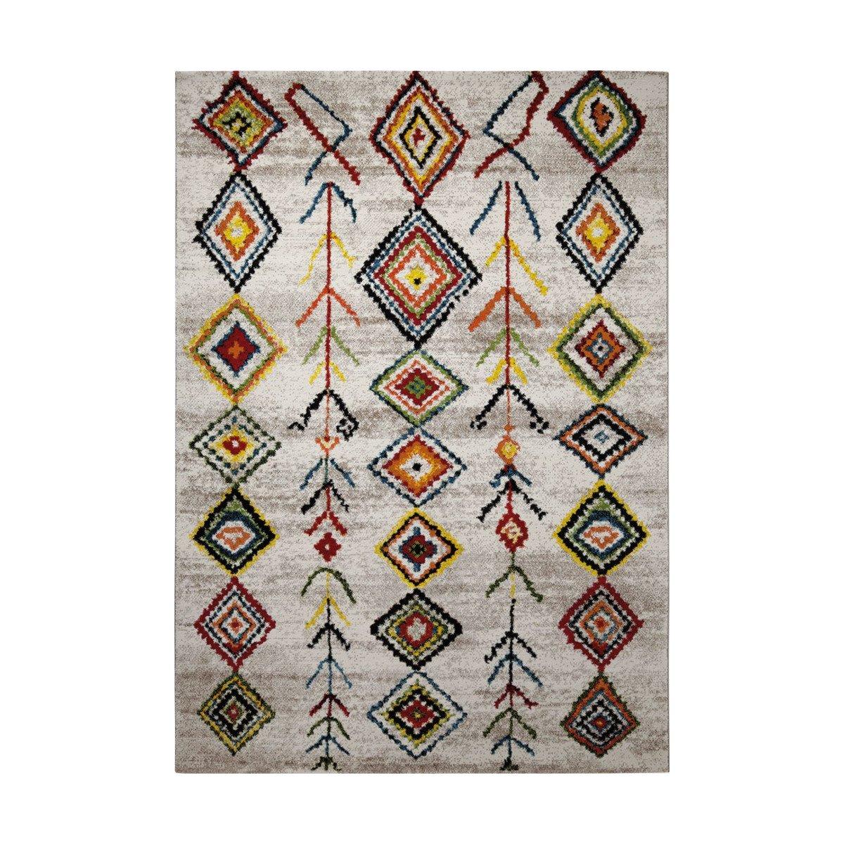 Tapis inspiration berbère multicolore pour salon ou chambre 80x150