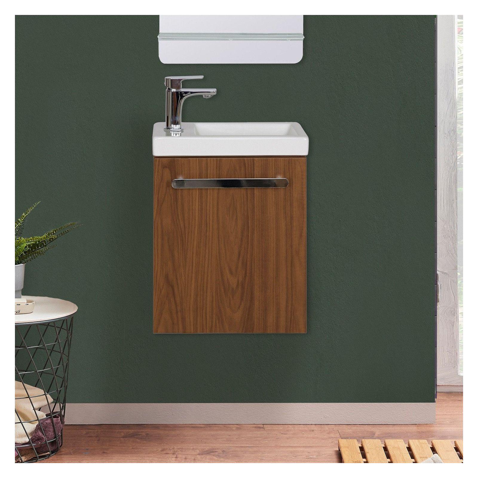 Meuble lave-mains effet bois foncé