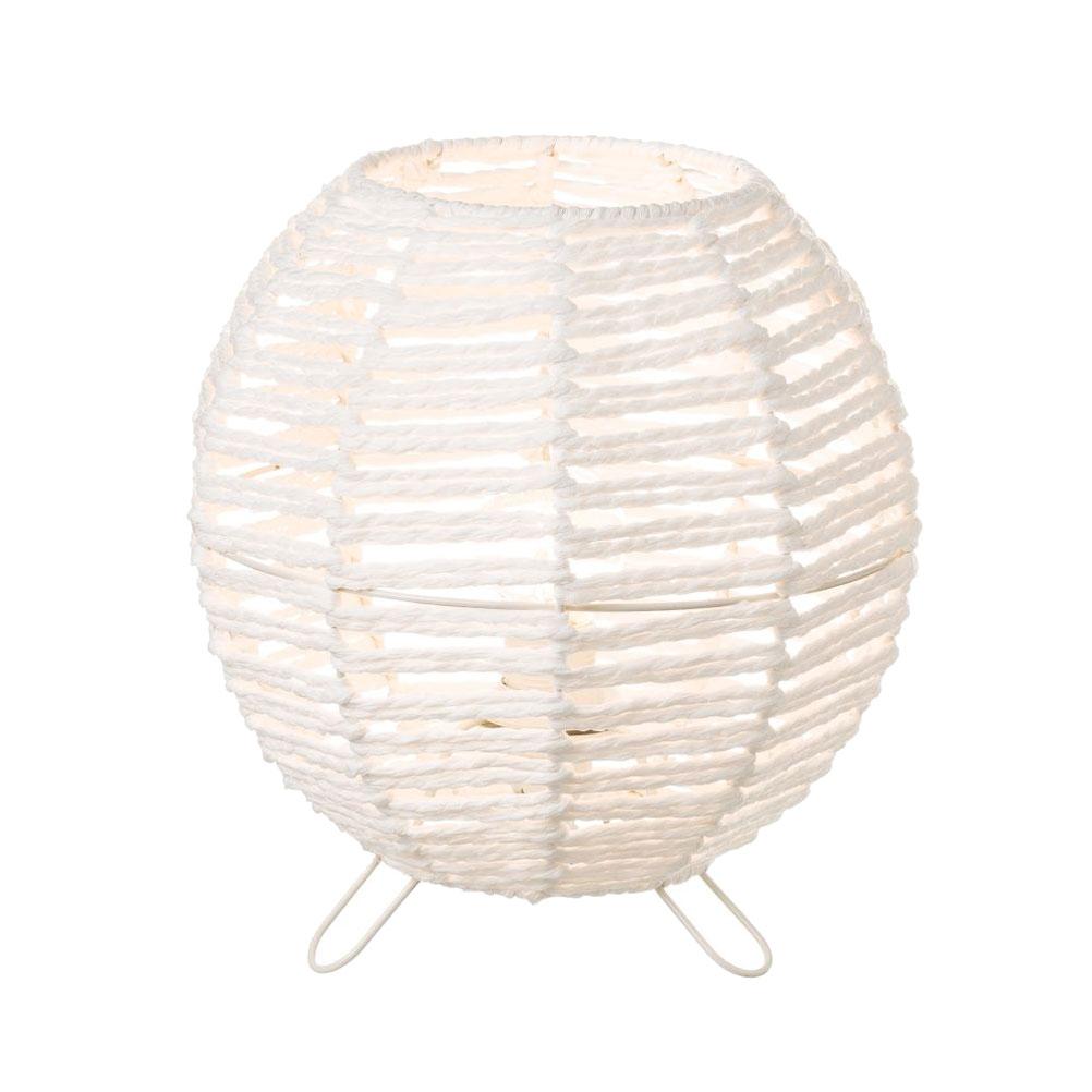 Lampe de table en fibre de papier blanc