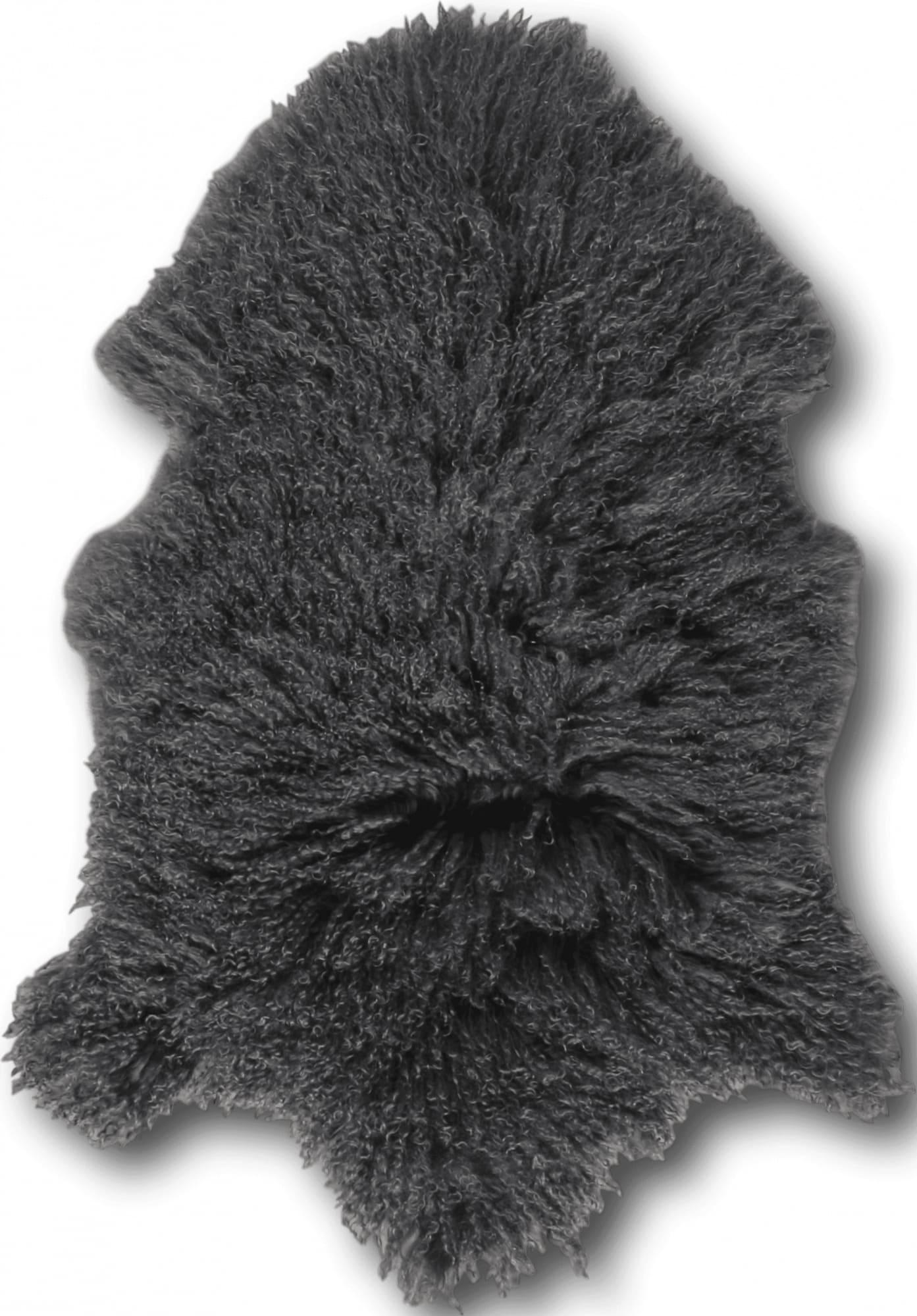 Descente de lit peau d'agneau gris 100x70
