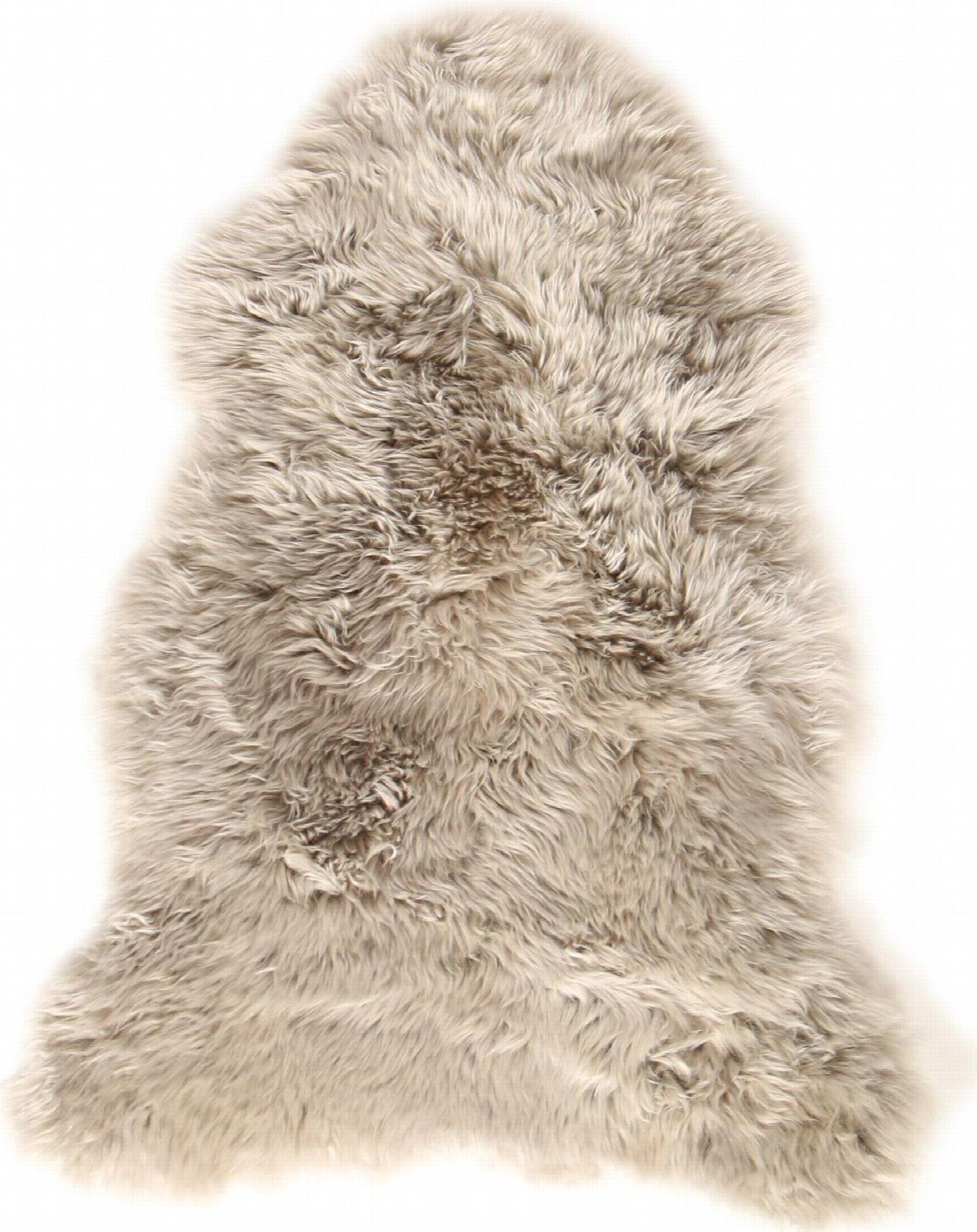 Descente de lit peau de mouton marron 100x70