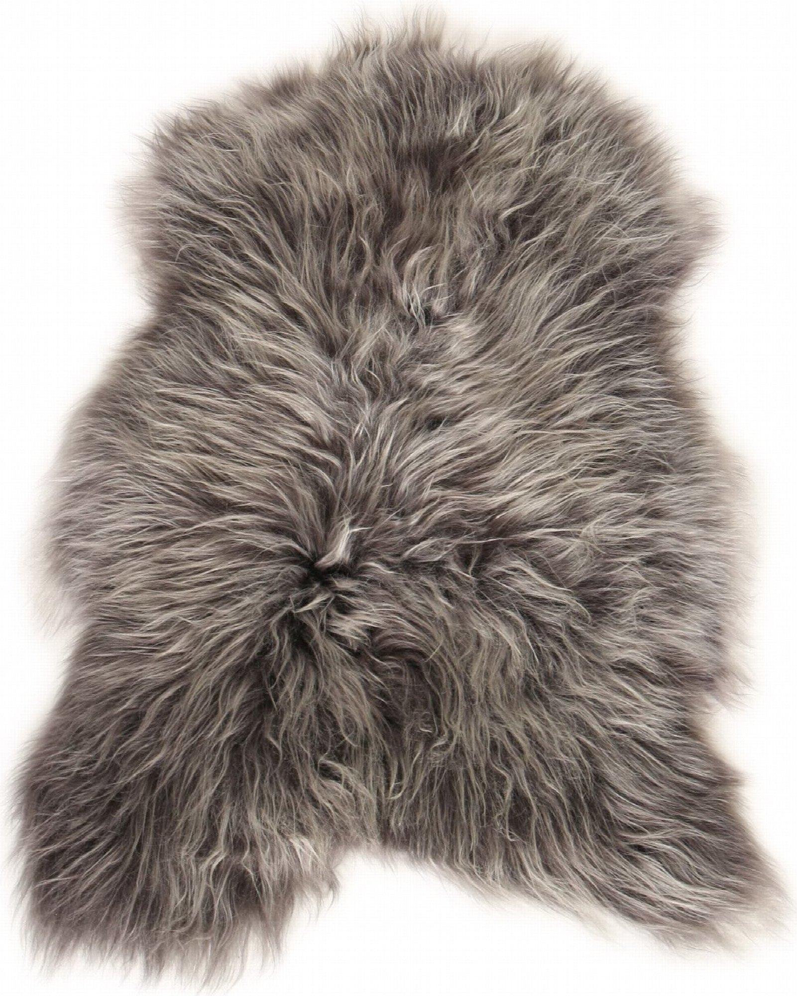 Descente de lit peau de mouton argent 90x60