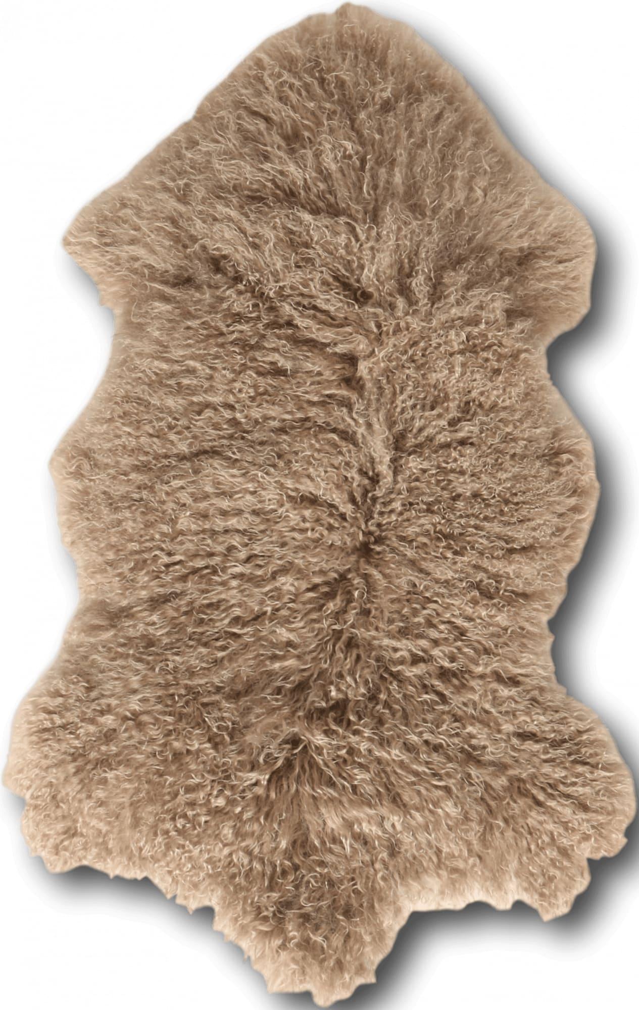 Descente de lit peau d'agneau marron 100x70