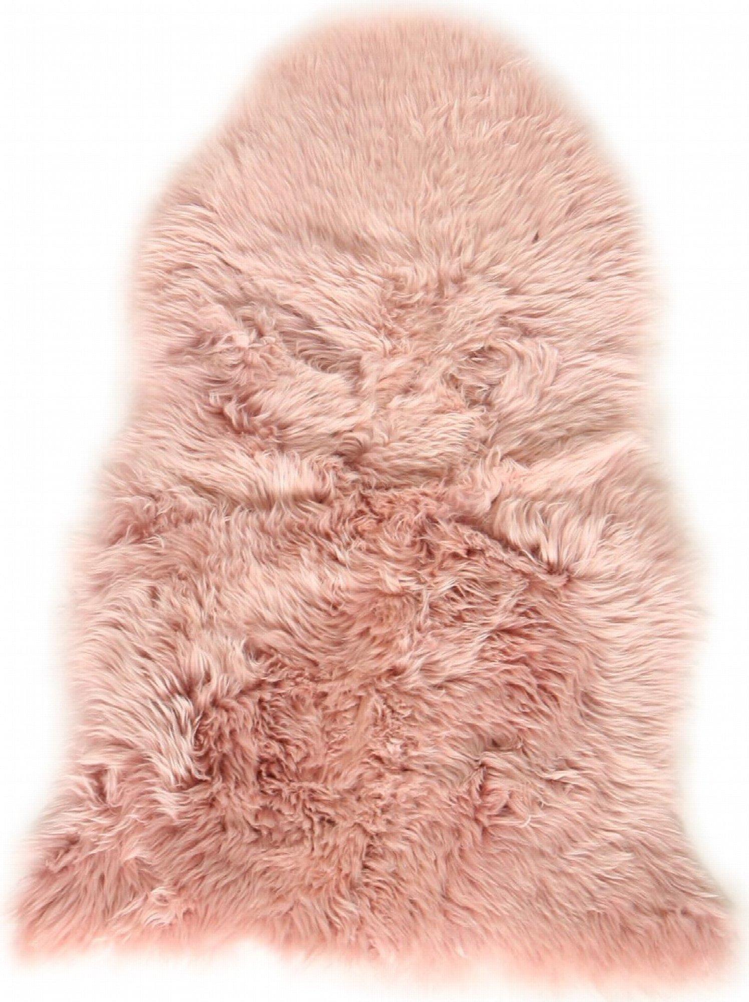 Descente de lit peau de mouton rose 100x70